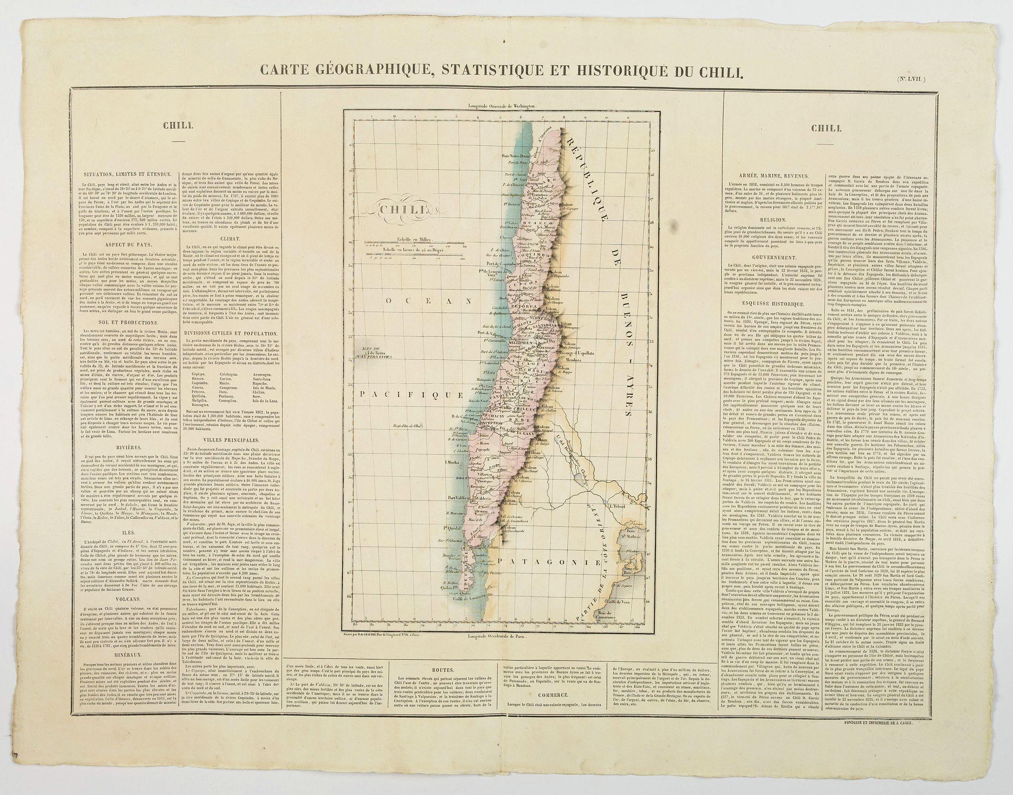 BUCHON, J.A. -  Carte Geographique, Statistique et Historique du Chili.