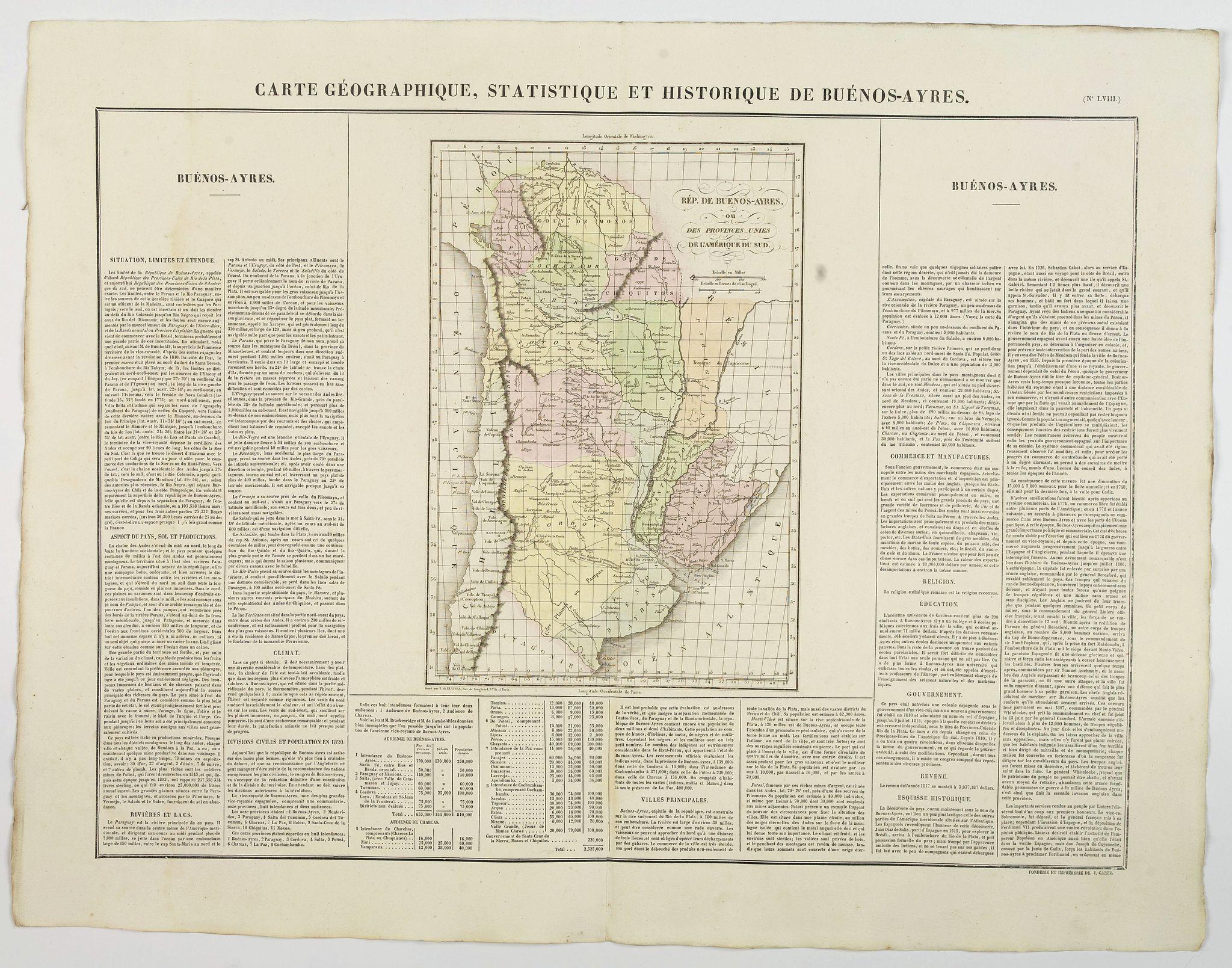 BUCHON, J.A. -  Carte Geographique, Statistique et Historique de Buenos-Ayres.