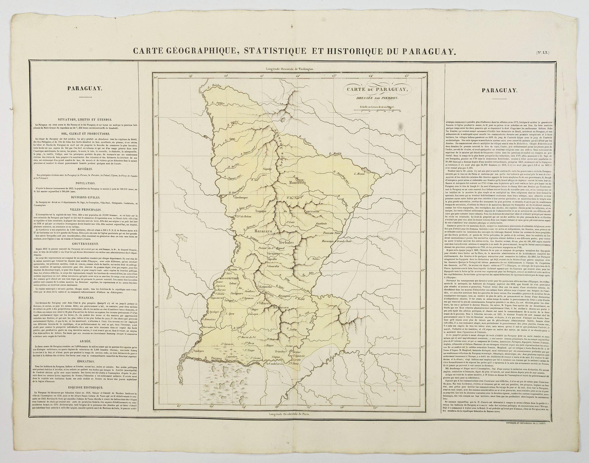 BUCHON, J.A. -  Carte Geographique, Statistique et Historique du Paraguay.