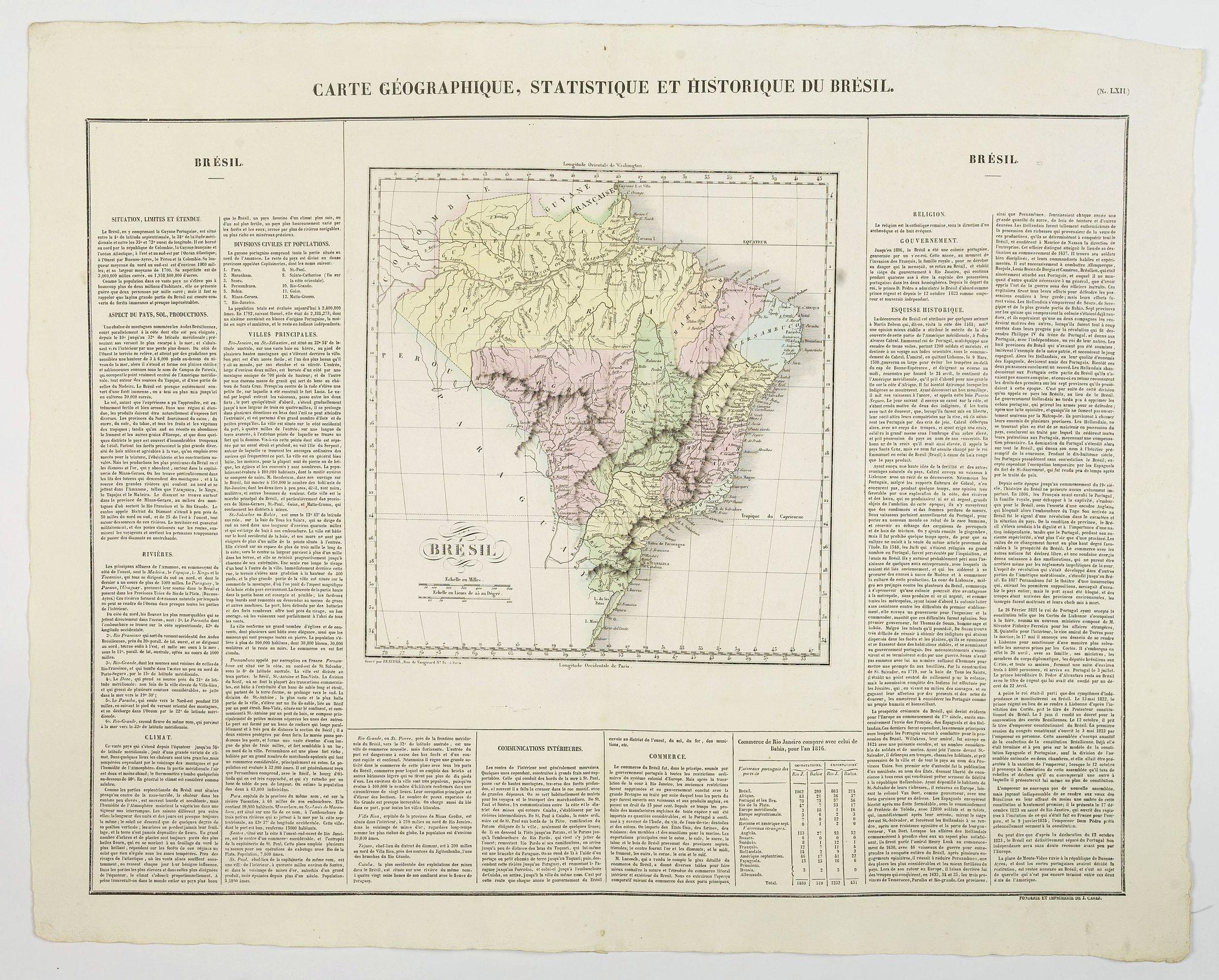BUCHON, J.A. -  Carte Geographique, Statistique et Historique du Bresil.