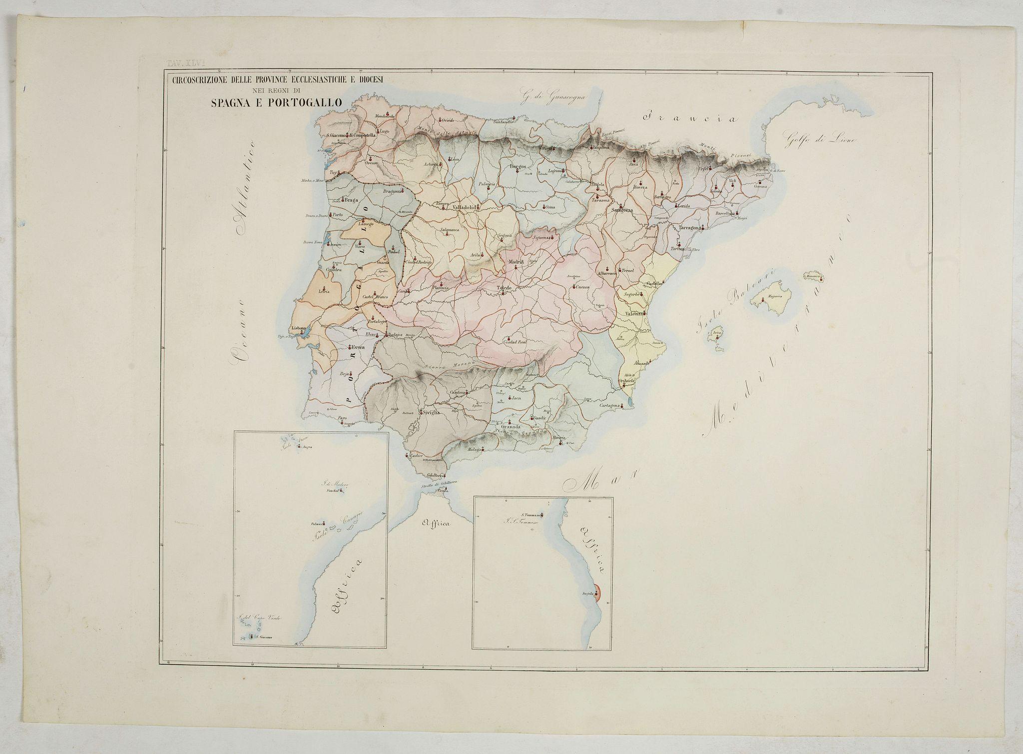 PETRI  Girolamo -  Circoscrizione delle province ecclesiastiche e Diocesinei regni di Spagna e Portogallo (Tav XLVI)