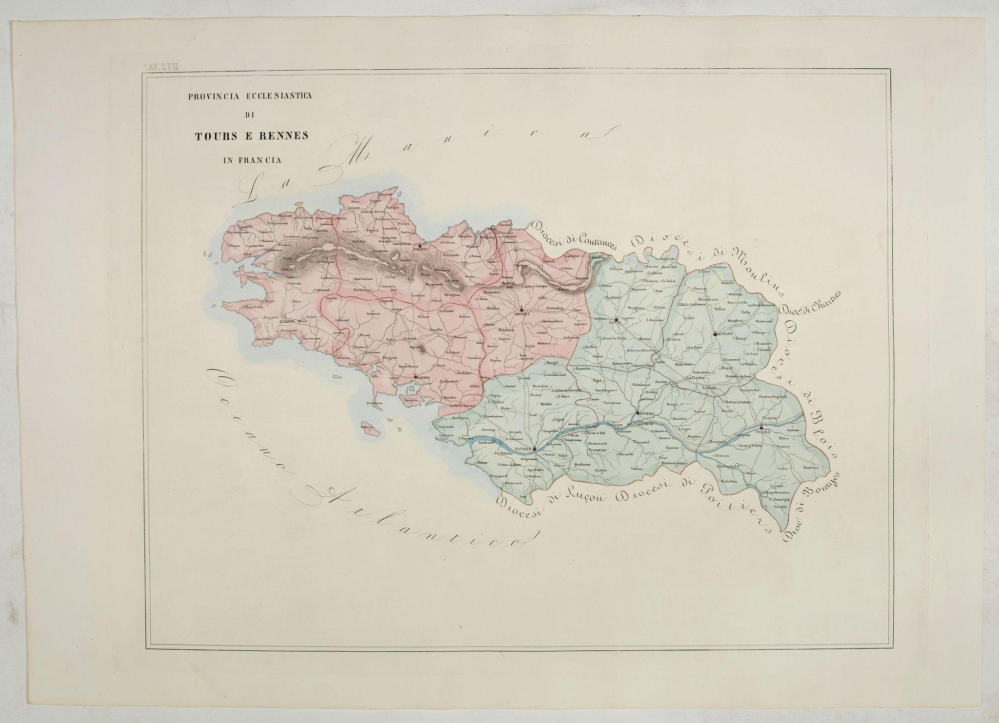 PETRI  Girolamo -  Province ecclesiastica di Tours e Rennes in Francia (Tav LVII)