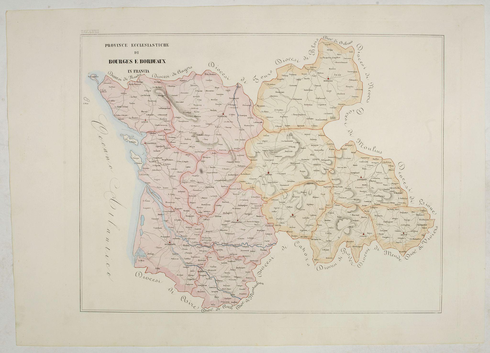 PETRI  Girolamo -  Province ecclesiastiche di Bourges e Bordeaux in Francia (Tav LVIII)