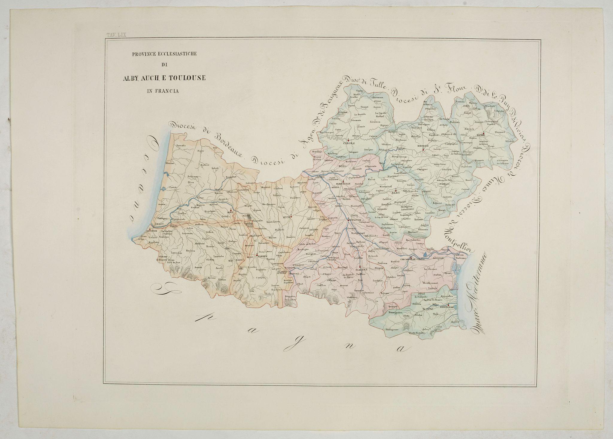 PETRI  Girolamo -  Province ecclesiastiche di Albi, Auche e Toulouse in Francia (Tav LIX)