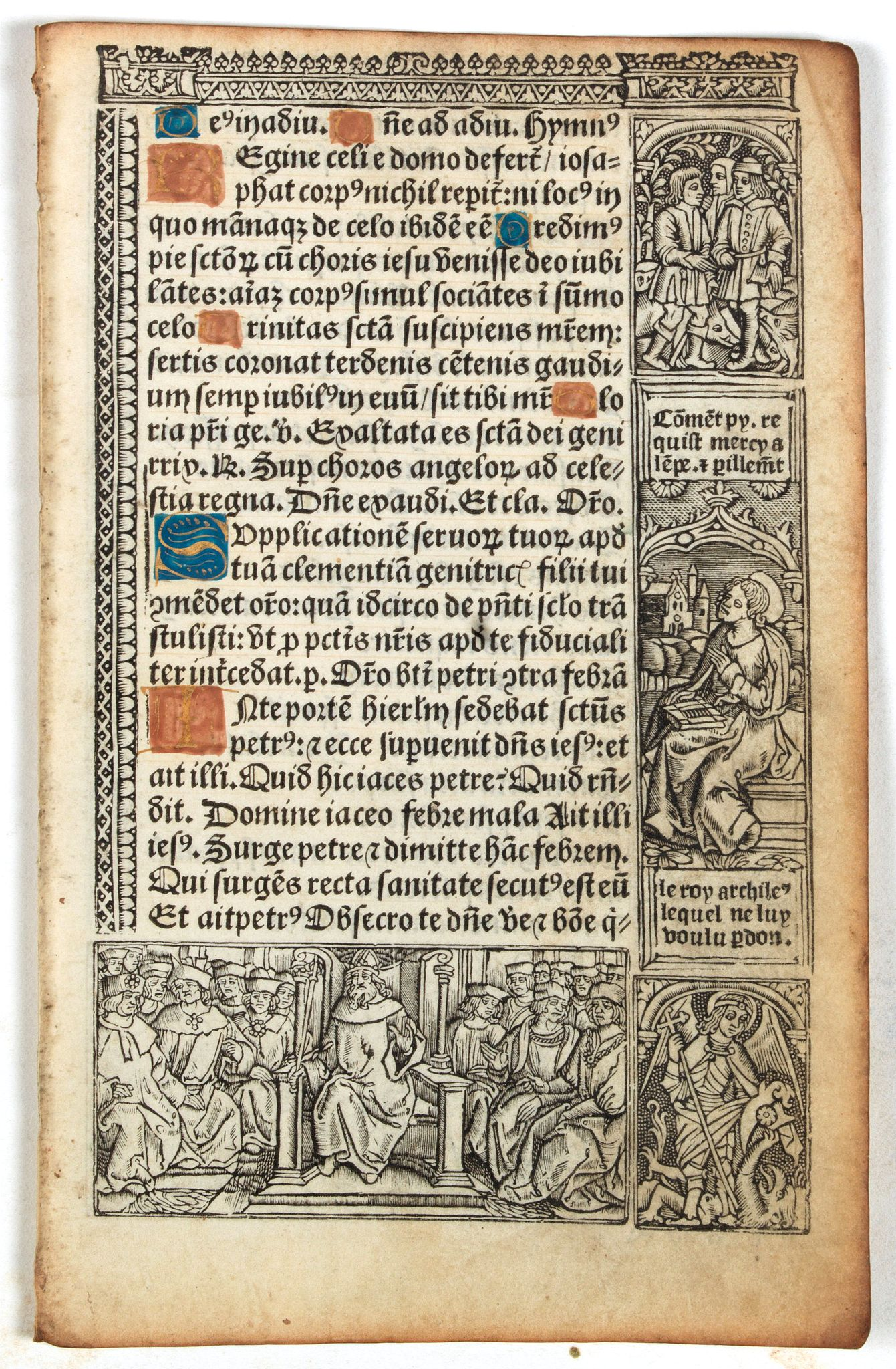 BOOK OF HOURS -  Leaf on vellum from a printed Book of Hours.