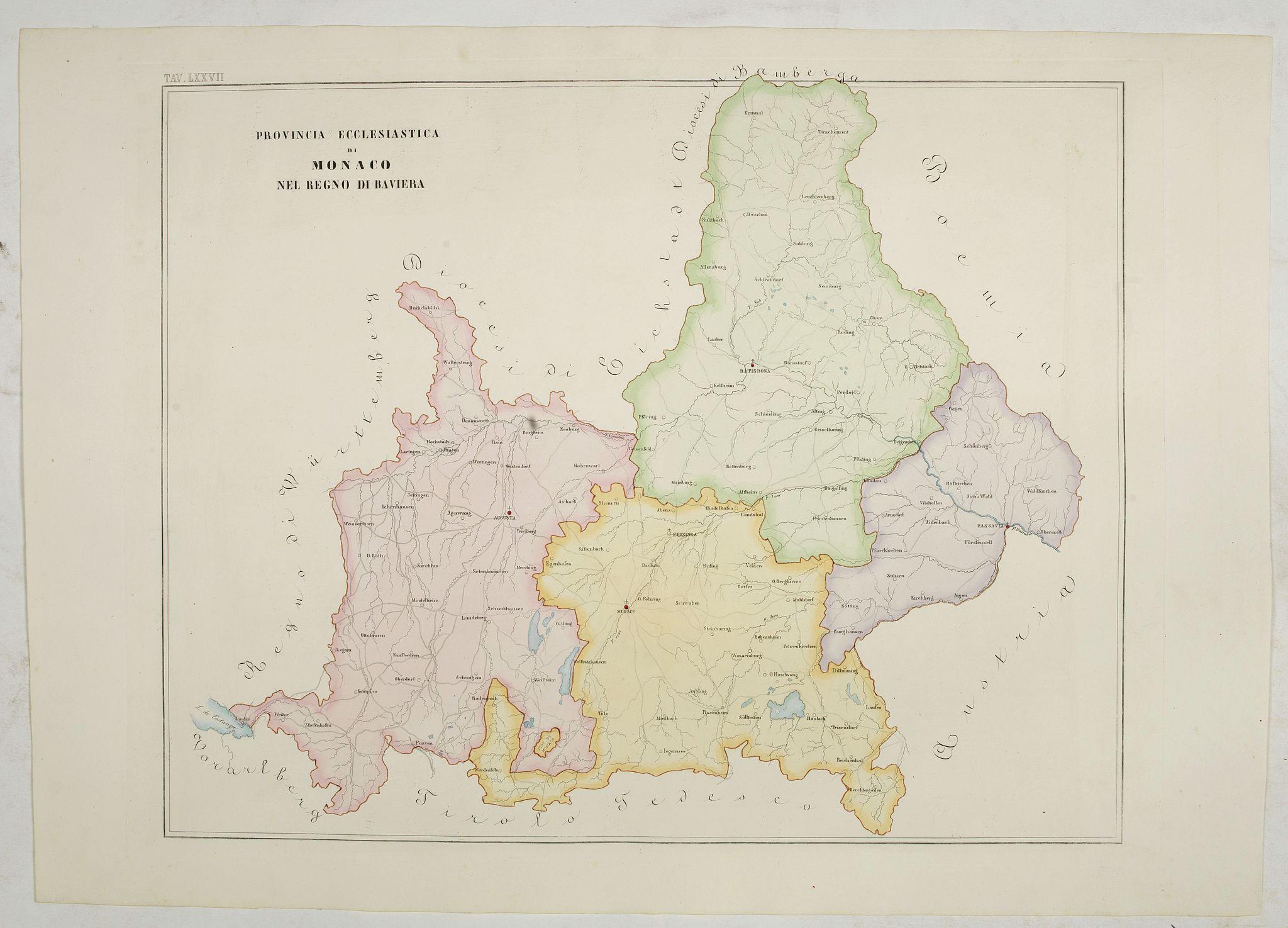 PETRI  Girolamo -  Province ecclesiastica di Monaco nel regno di Baviera (Tav LXXVII)