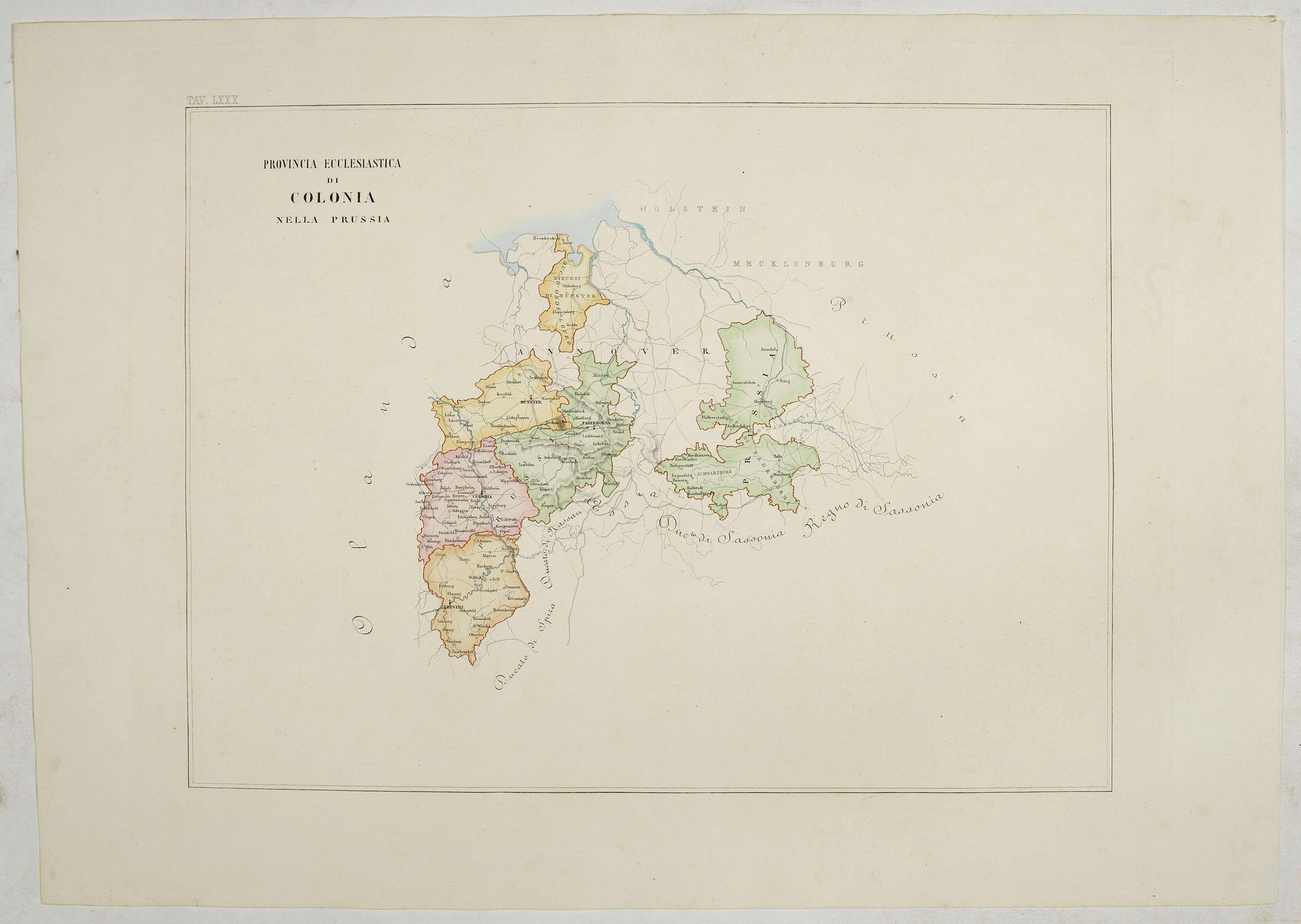 PETRI  Girolamo -  Provincia ecclesiastica di Colonia nella Prussia (Tav LXXX)