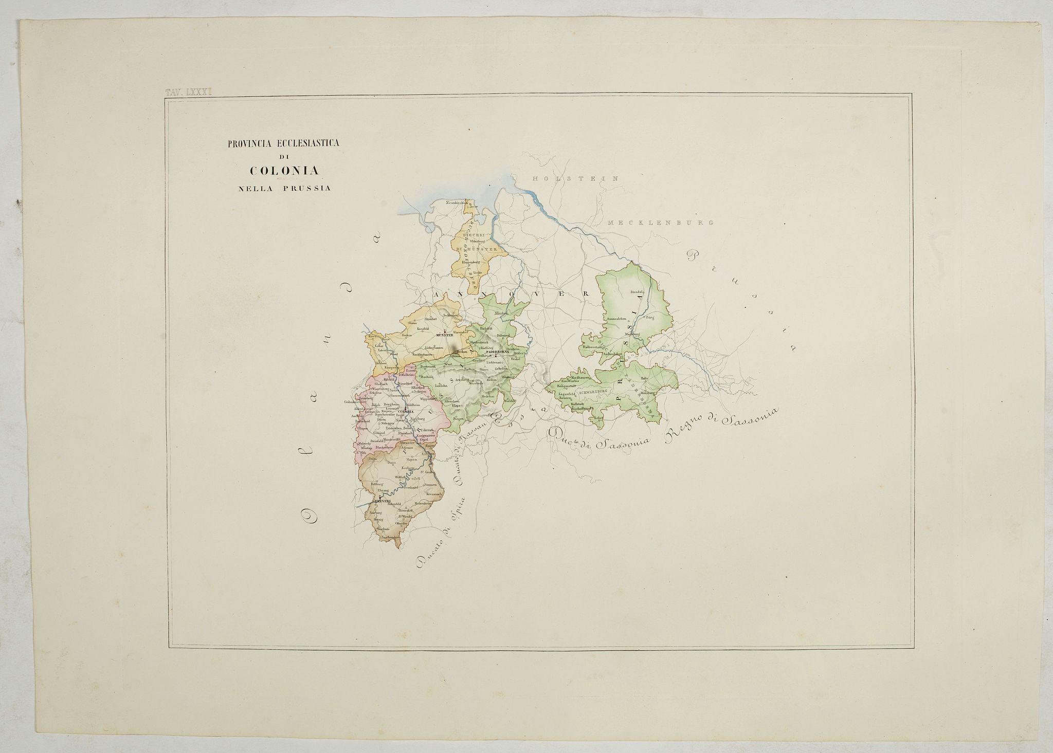 PETRI  Girolamo -  Provincia ecclesiastica di Colonia nella Prussia (Tav LXXXI)