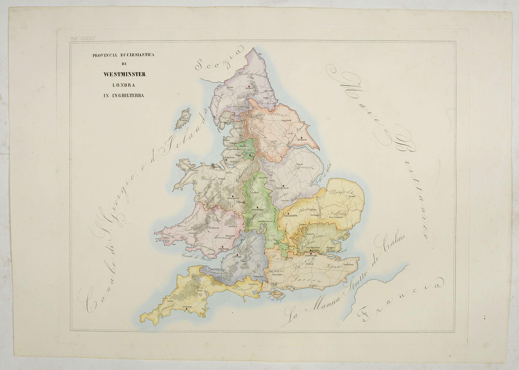 PETRI  Girolamo -  Provincia ecclesiastica di Westminster Londra in Inghilterra (Tav LXXXIV)