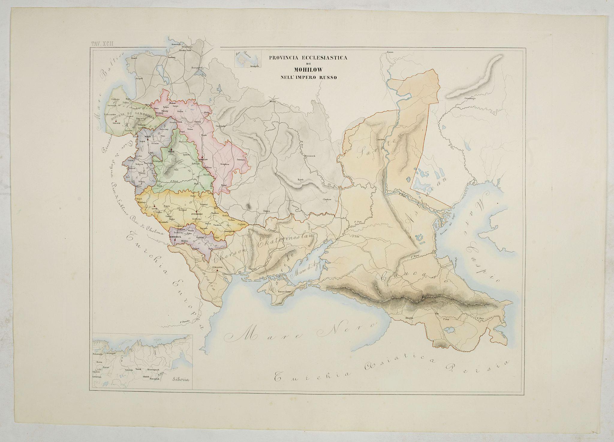 PETRI  Girolamo -  Provincia ecclesiastica di Mohilow nell' Impero Russo (Tav XCII)