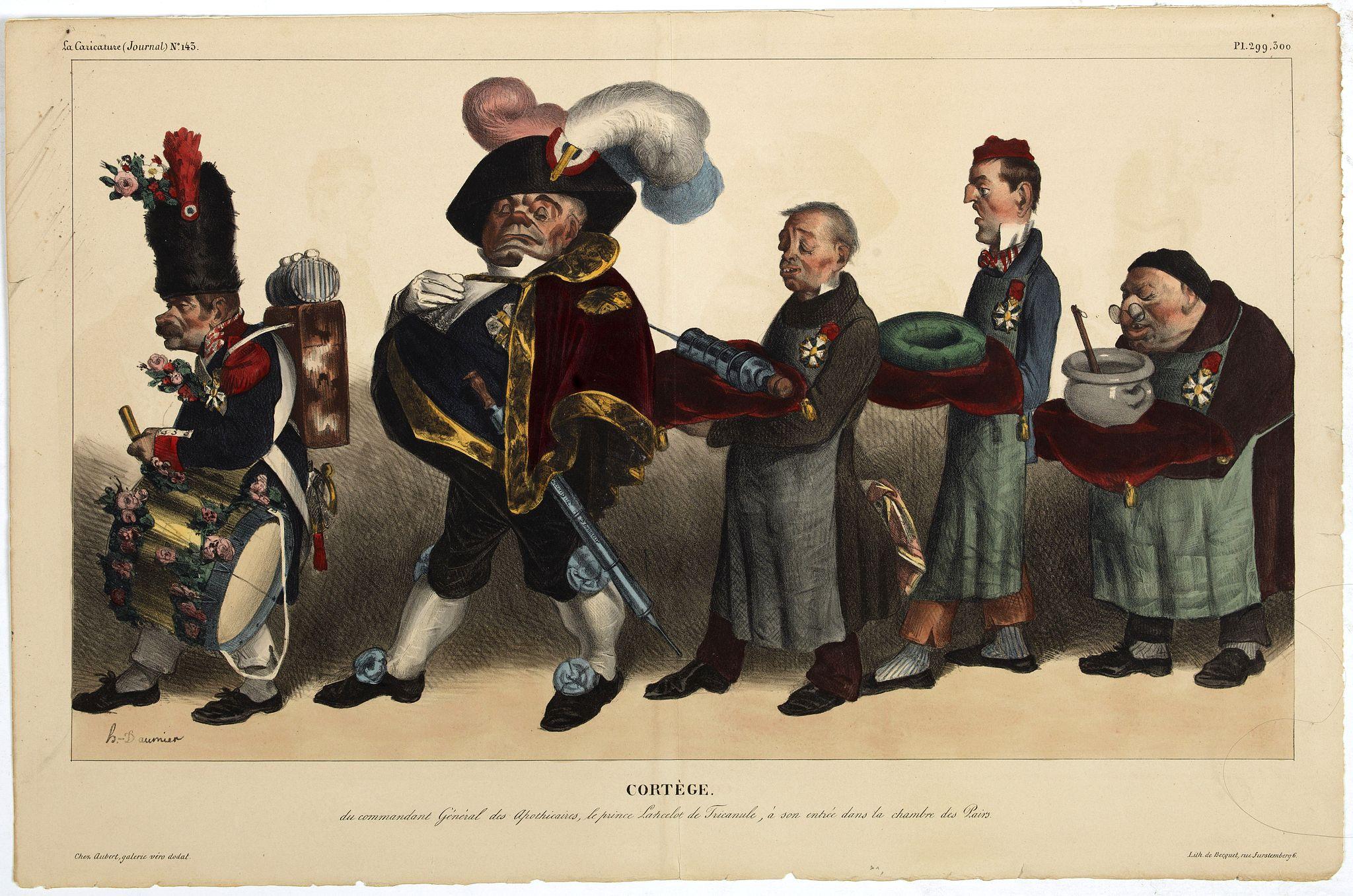 DAUMIER, H. -  Cortège du Commandant Général des Apothicaires, le prince Lancelot de Tricanule, à son entrée dans la Chambre de Pairs.