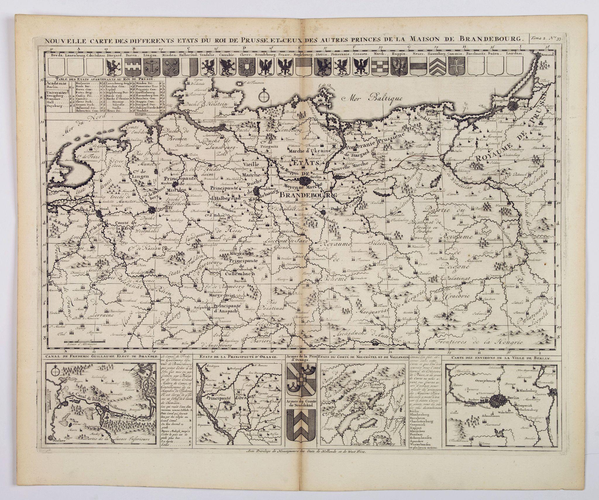 CHATELAIN, Henri. - Nouvelle Carte des Differents Etats du Roi de Prusse et de Ceux des Autres Princes de la Maison de Brandebourg.