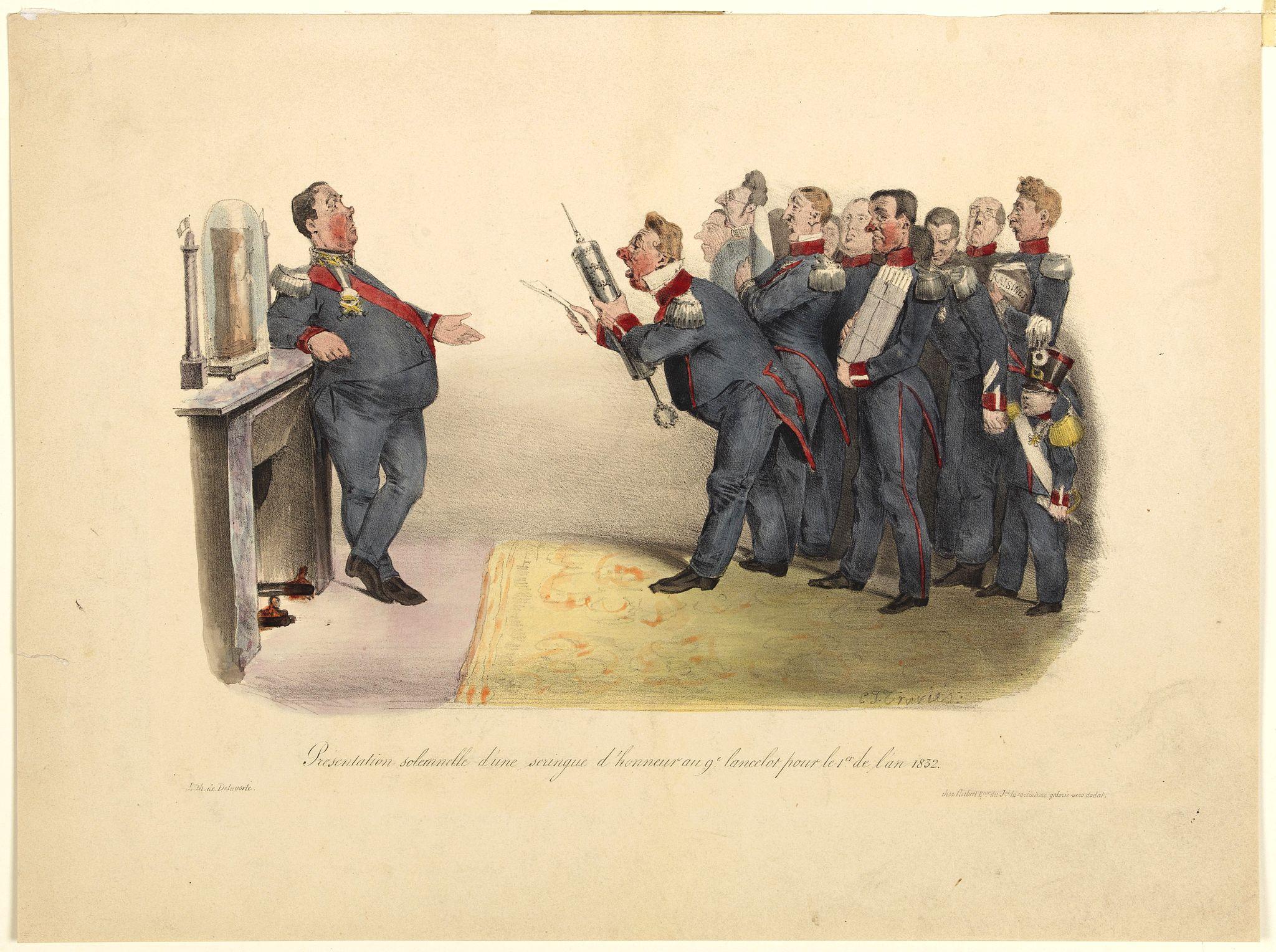 TRAVIES, Charles Joseph. -  Présentation solennelle d'une seringue d'honneur au 9e lancelot pour le Ier de l'an 1832.