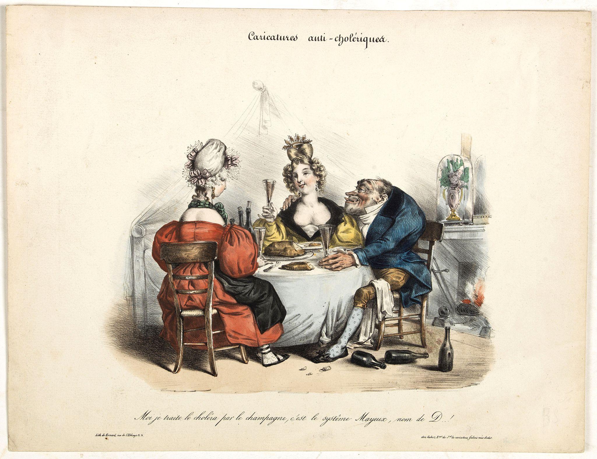 AUBERT, B. -  Caricature anti-cholérique.