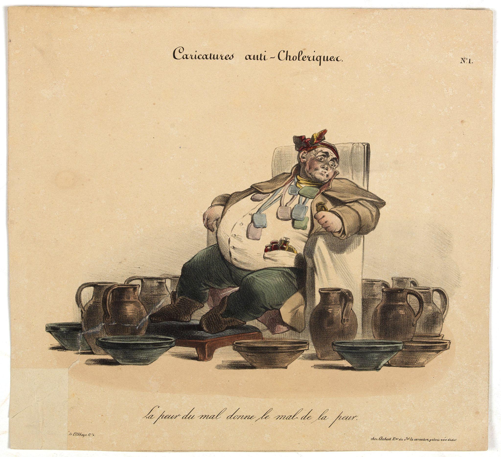 AUBERT, B. -  Caricature anti-cholérique La peur du mal donne le mal de la peur. (pl 1)