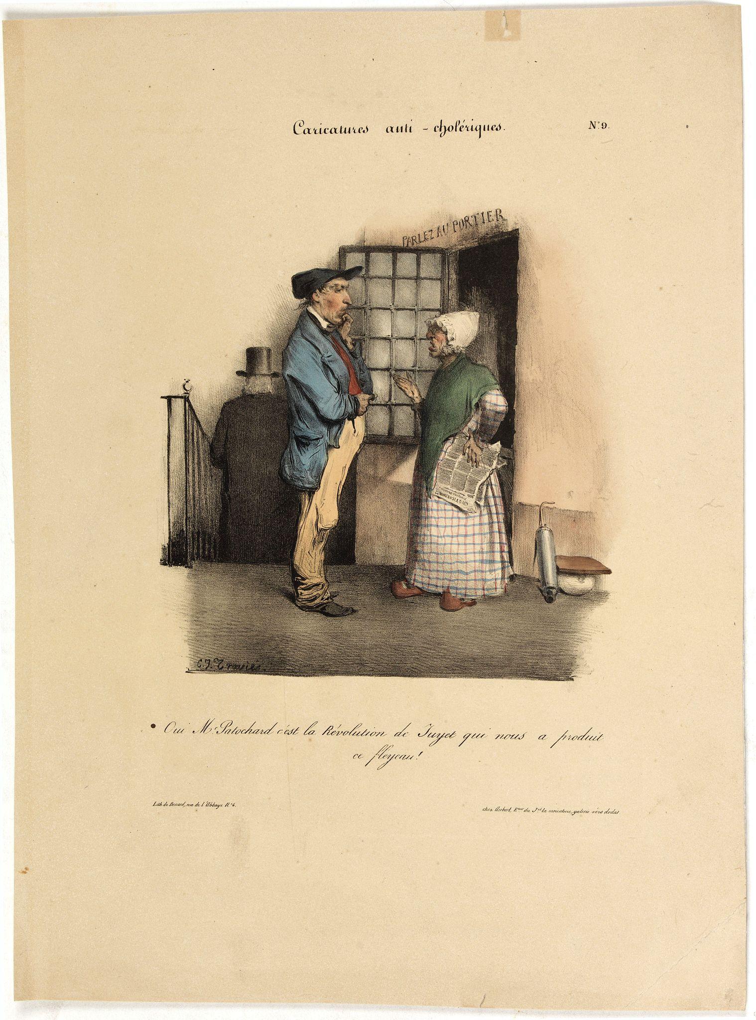 AUBERT, B. -  Caricature anti-cholérique. Oui Mr Patochard c'est la Révolution de Juyet qui nous a produit ce fleyeau!. (pl 9)