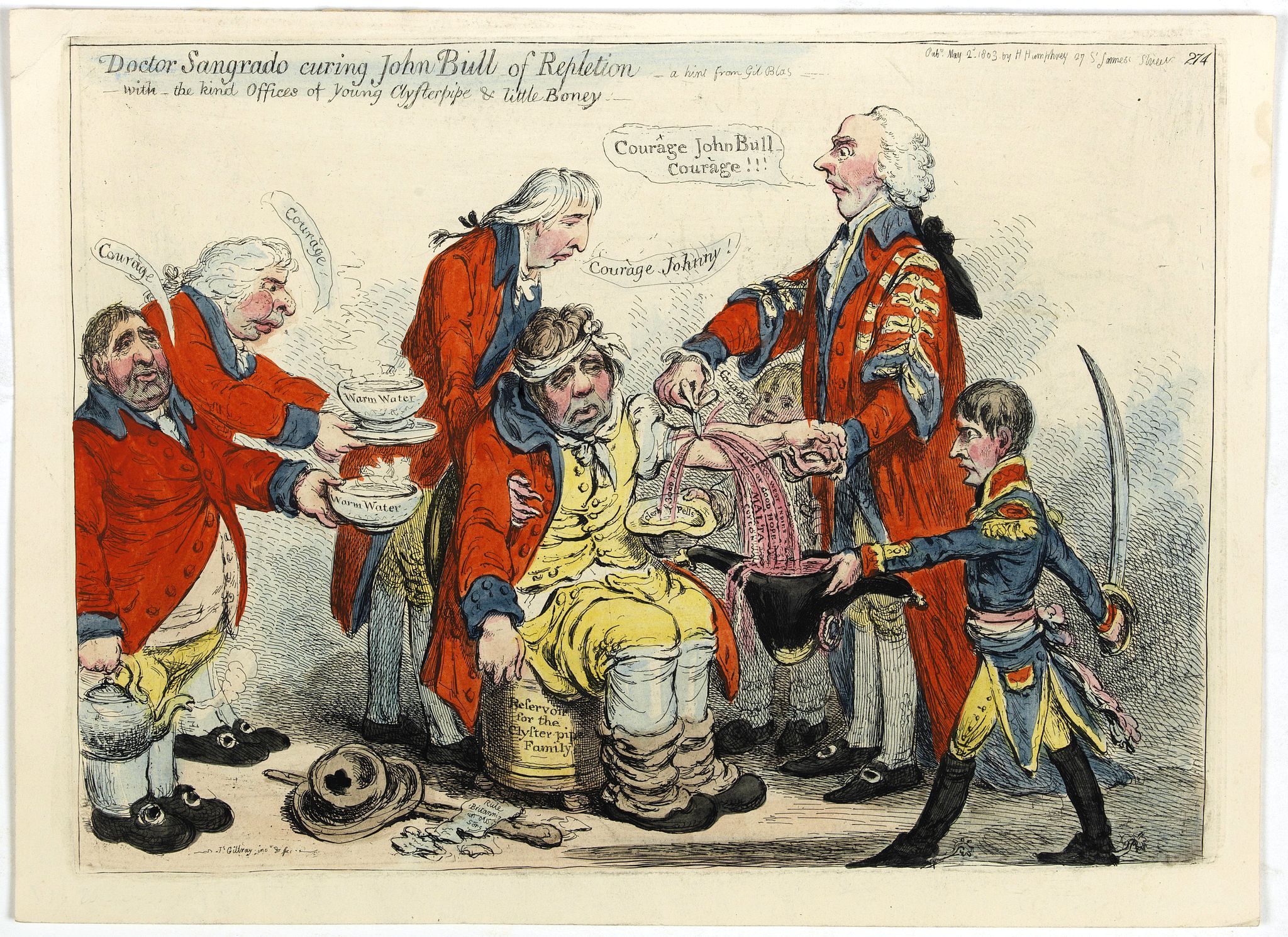 GILLRAY, James. -  Doctor Sangrado curing John Bull of repletion-with the kind offices of young Clysterpipe & little Boney- a hint from Gil Blas. (pl 274) / verso: A Phantasmagoria - scene  conjuring up an armed skeleton.