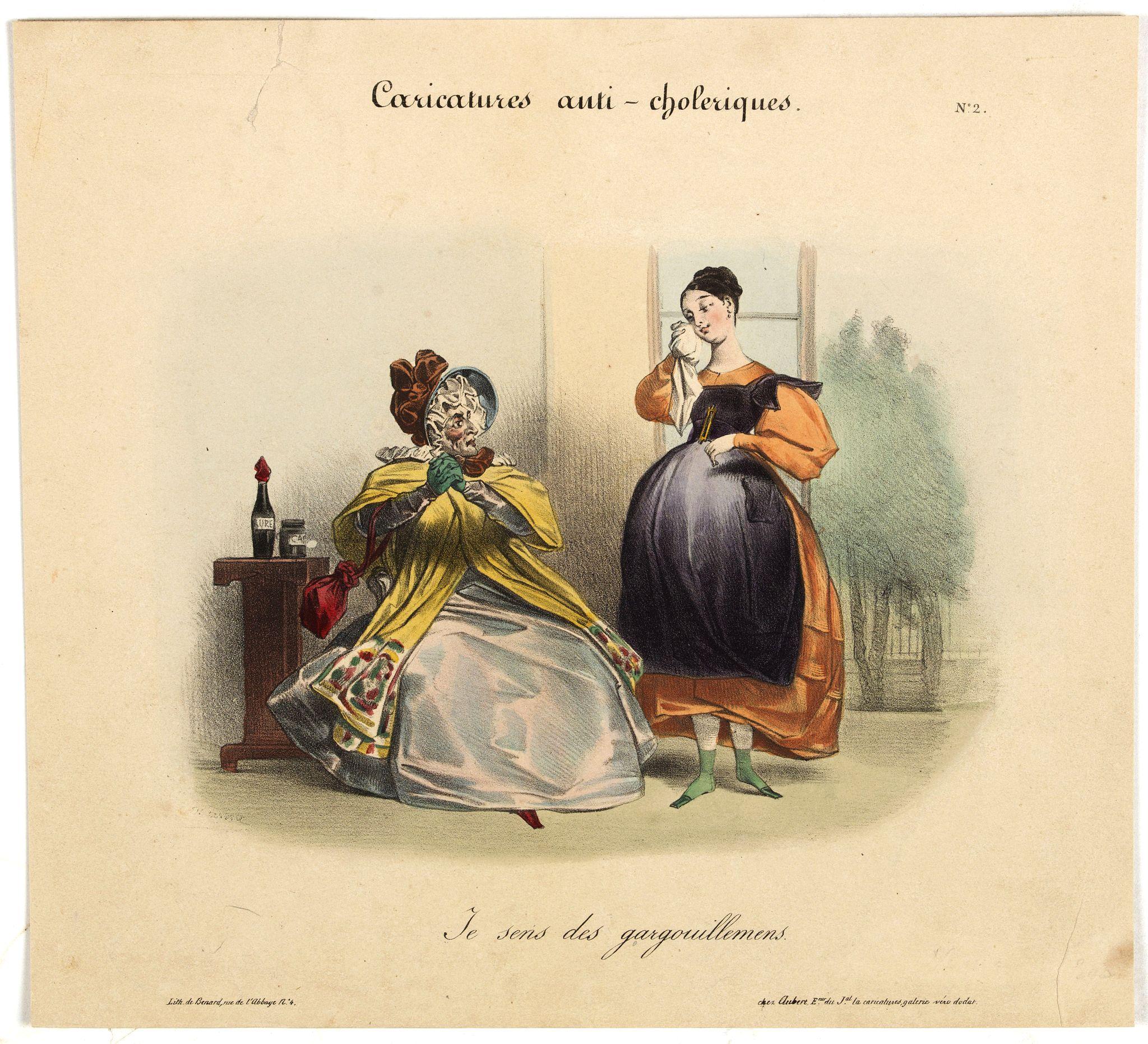 AUBERT, B. -  Caricature anti-cholérique. Je sens les gargouillemens. (pl 2)