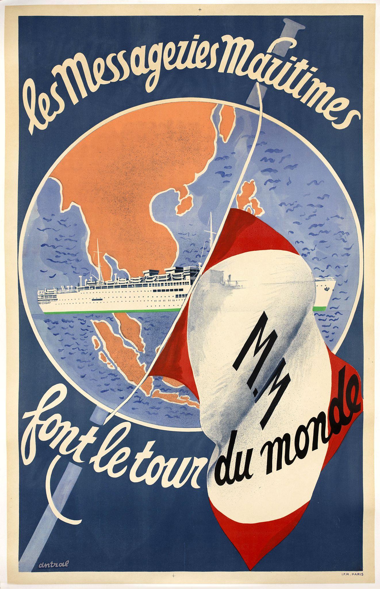 IMP FRANCAISES REUNIES - Les Messageries Maritimes font le tour du monde.