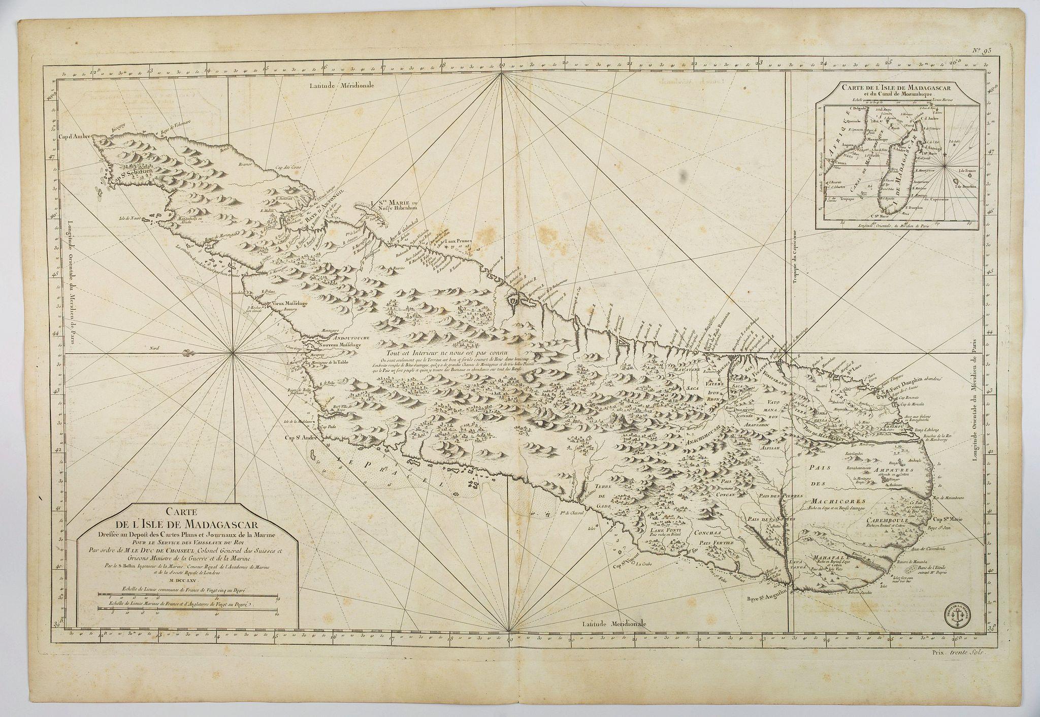BELLIN, J -  Carte de L'Isle de Madagascar. . .