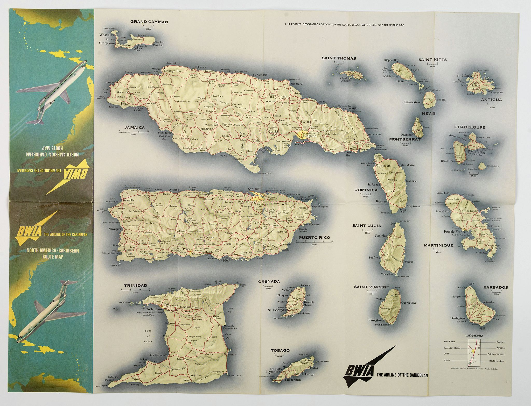 RAND MCNALLY & COMPANY.,  BWIA. North America - Caribbean Route Map., antique map, old maps
