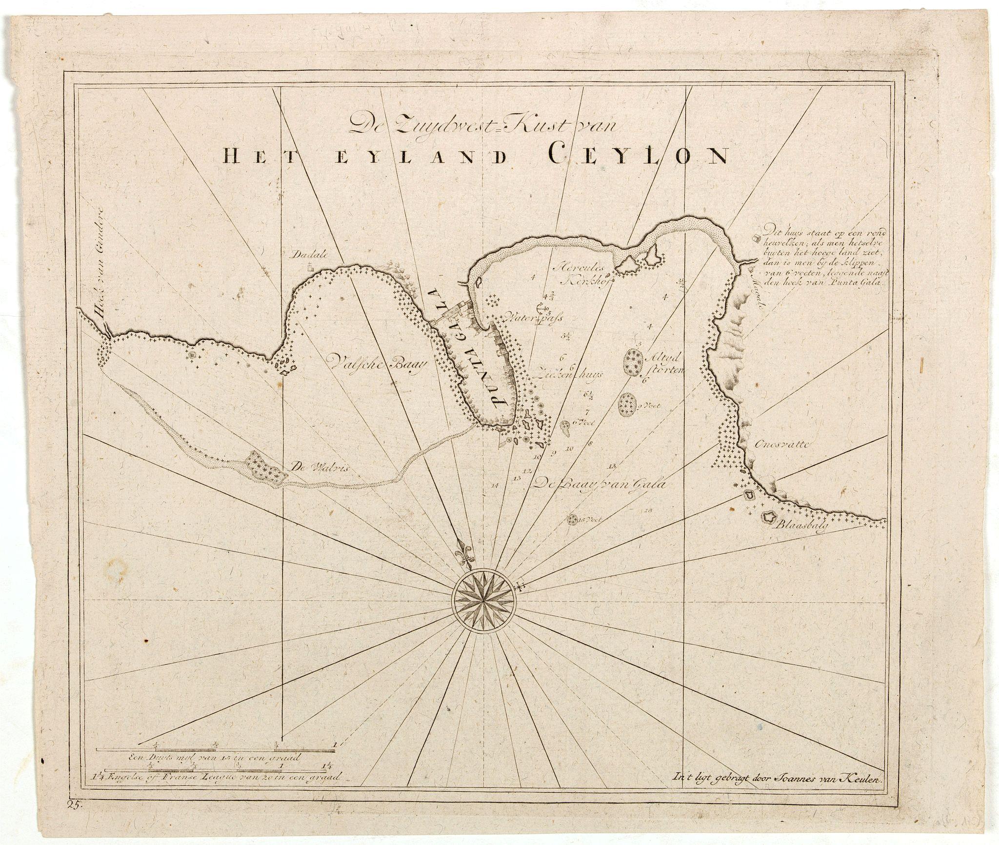 VAN KEULEN, J. -  De Zuydwest-Kust van Het Eyland Ceylon.