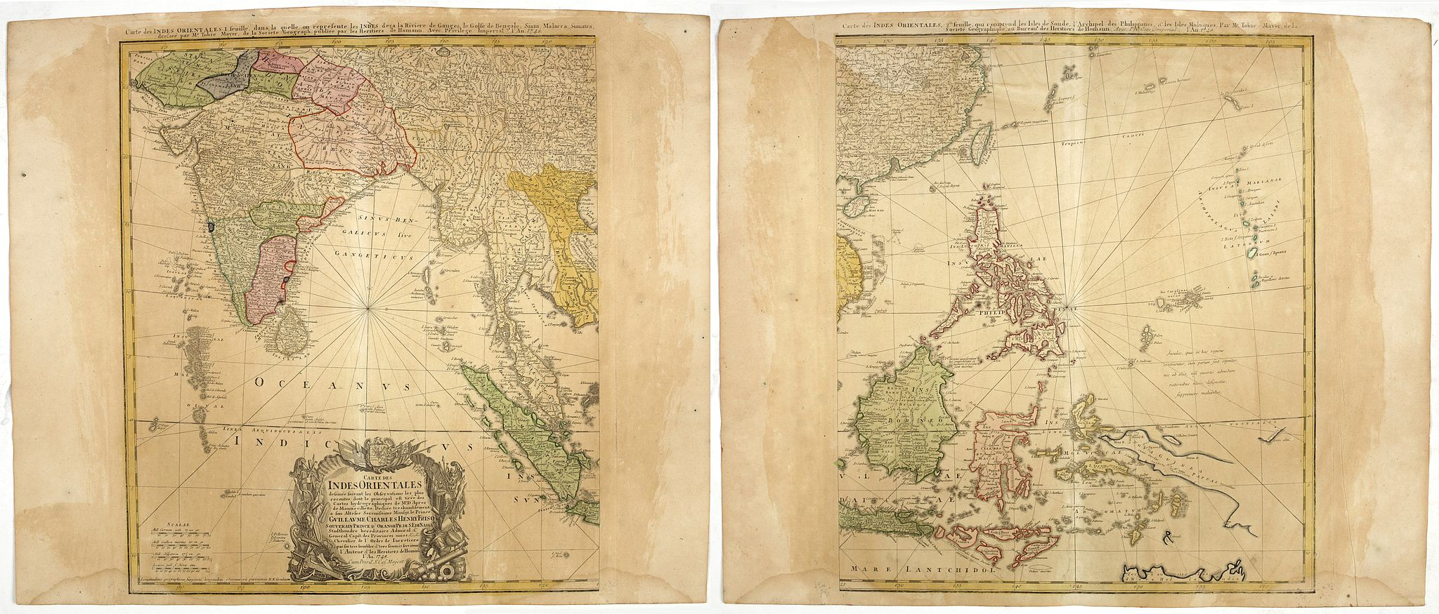 HOMANN HEIRS. - [2-sheets] Carte des Indes Orientales. . .