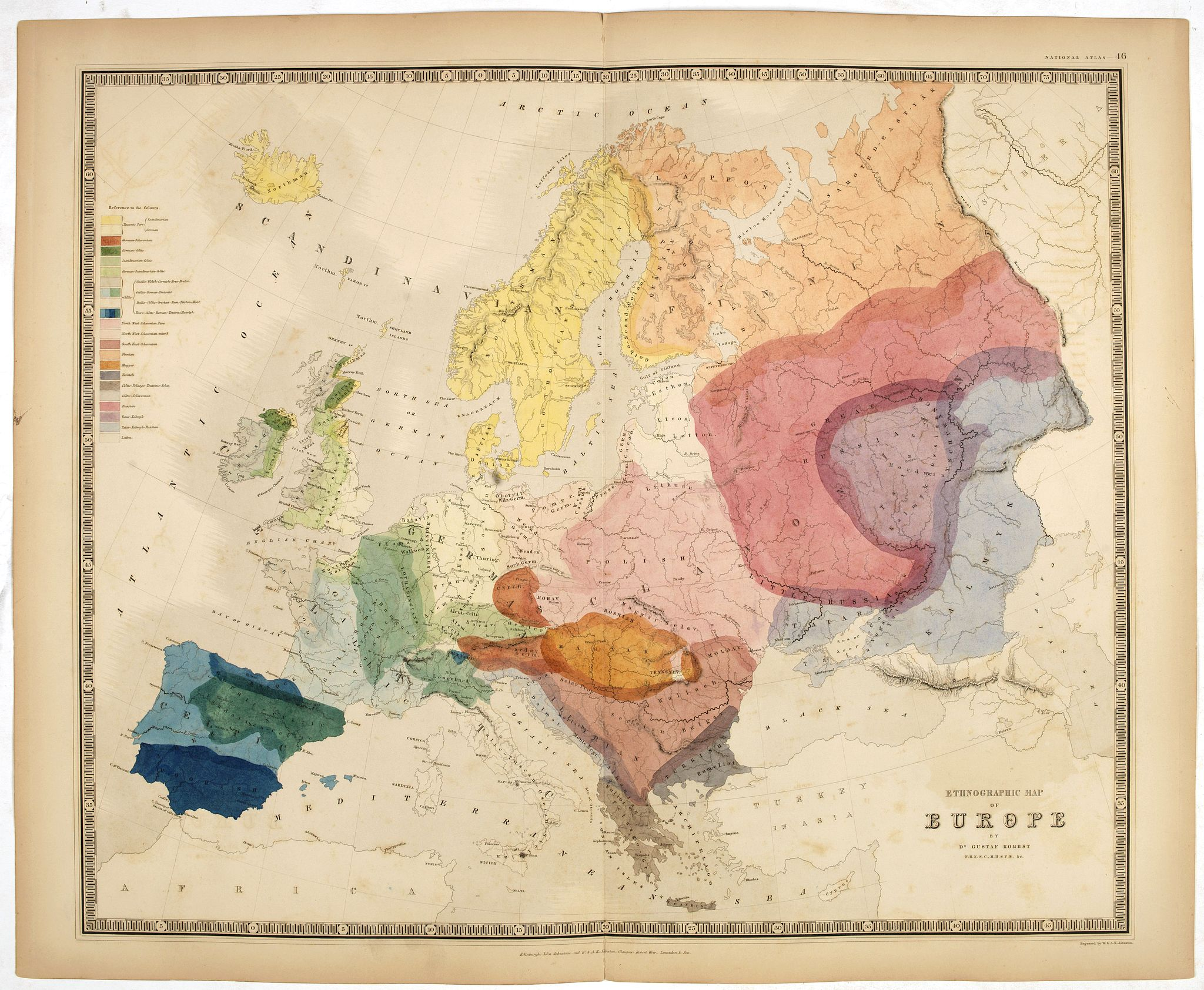 JOHNSTON, J. -  Ethnographic map of Europe by dr. Gustaf Kombst.