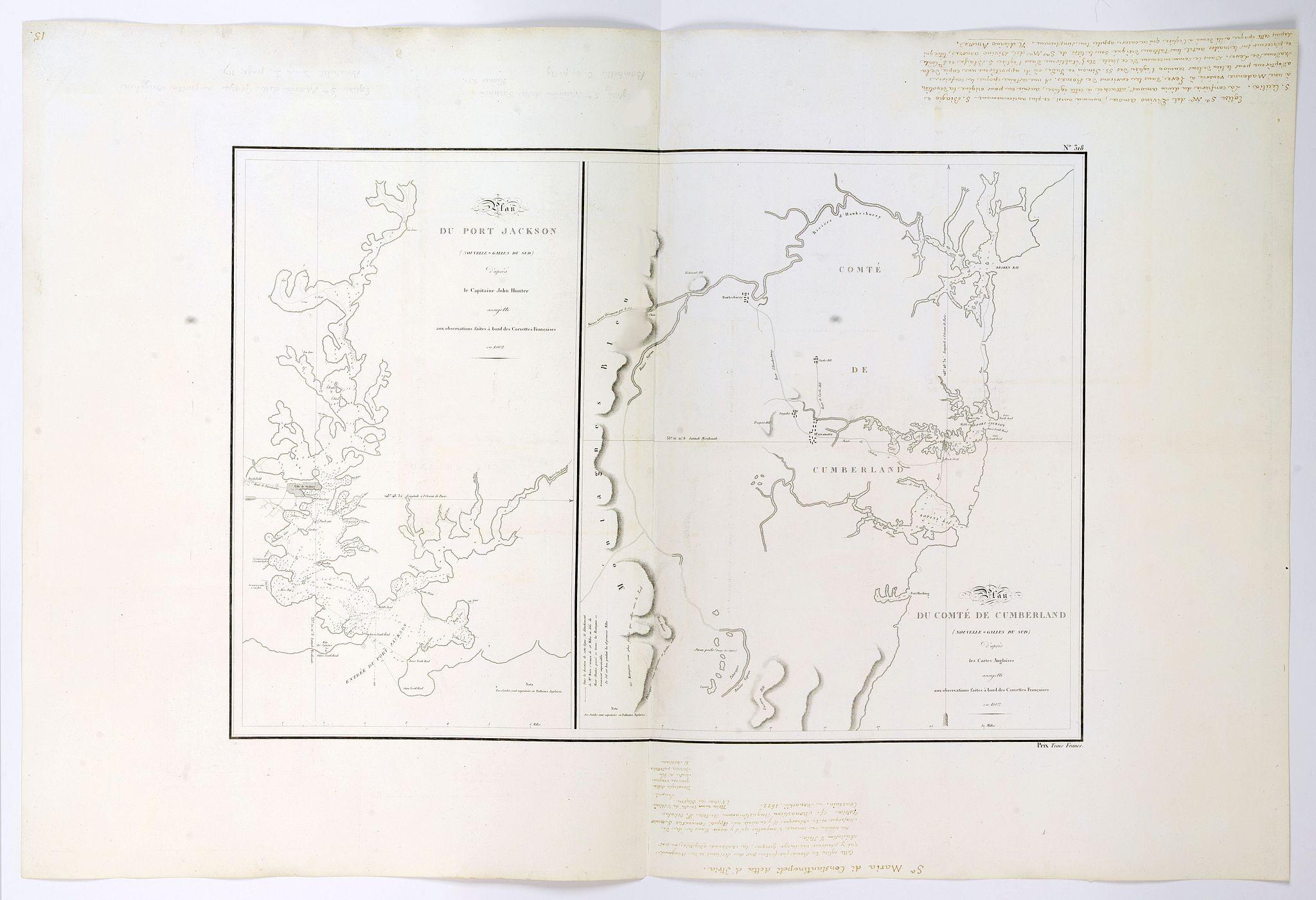 de FREYCINET, L.C.D. / BEAUTEMPS-BEAUPRE, C.-F., -  Plan du Port Jackson / Plan du Comte de Cumberland.