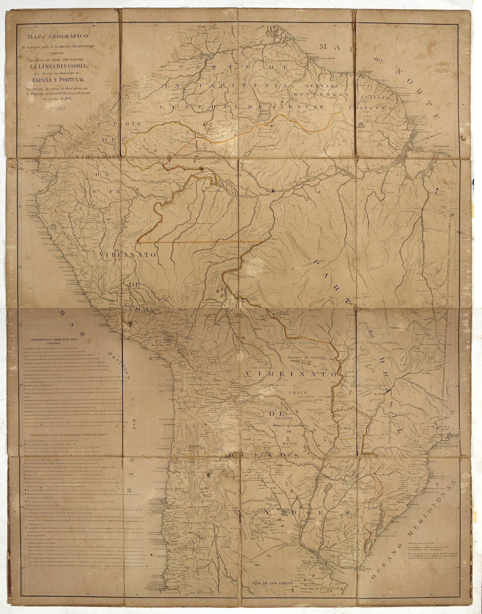 REQUENA, F. -  Mapa geogra´fico de la mayor parte de la Ame´rica Meridional que contiene los paises por donde debe trazarse la li´nia divisoria que divida los dominios de Espan~a y Portugal. . .