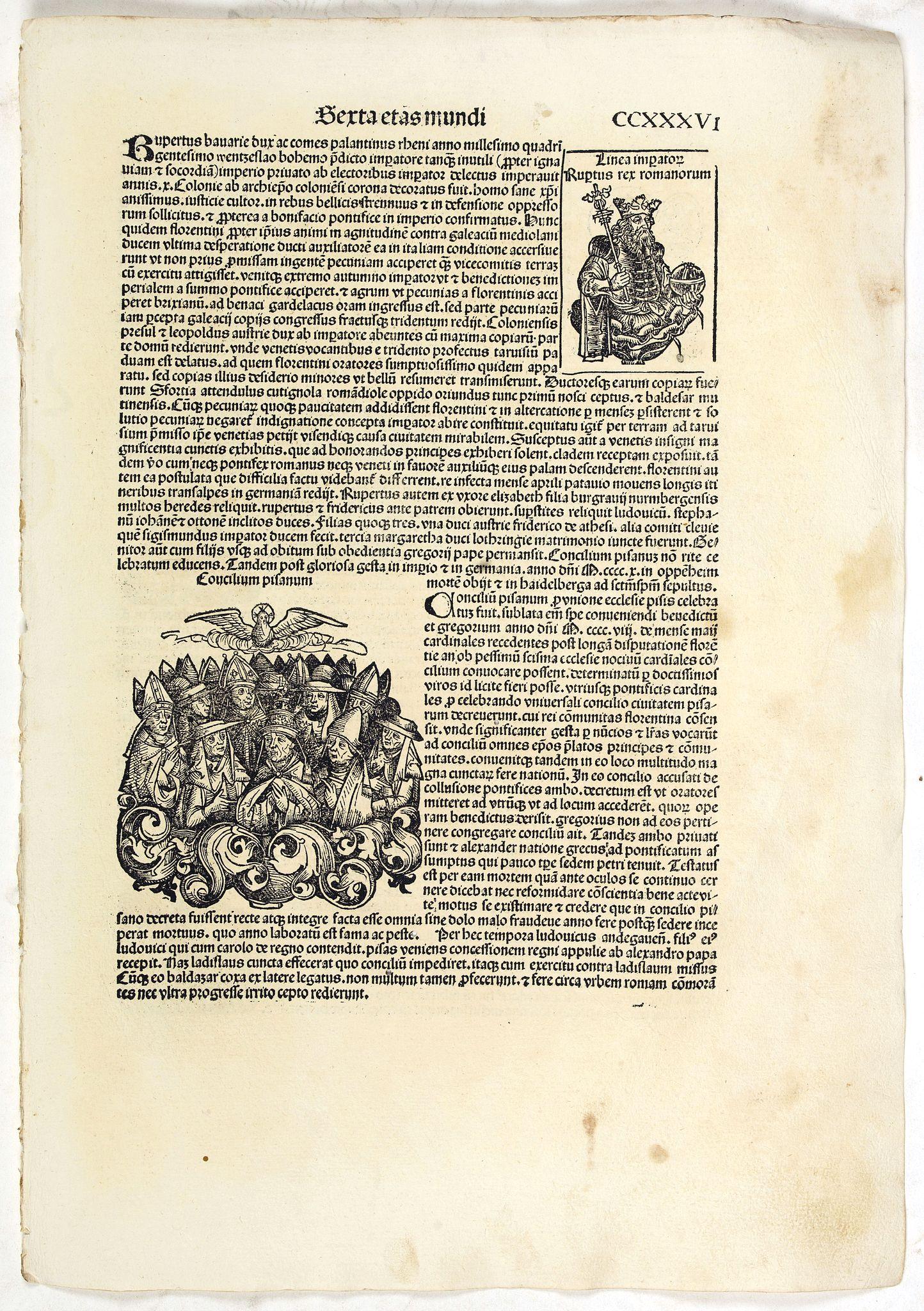 SCHEDEL, H. -  Terta Etas Mundi. Folium. CCXXXVI