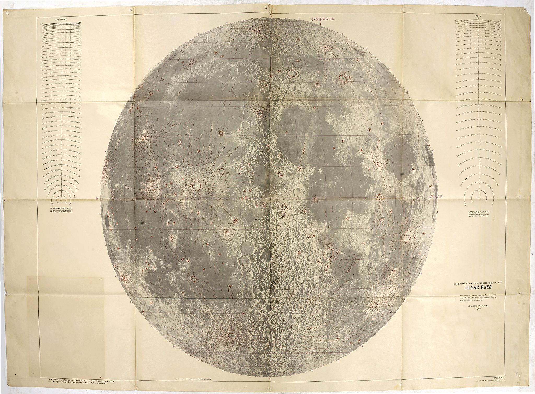 ARMY MAP SERVICE -  Engeneer special study of the surface of the moon LUNAR RAYS