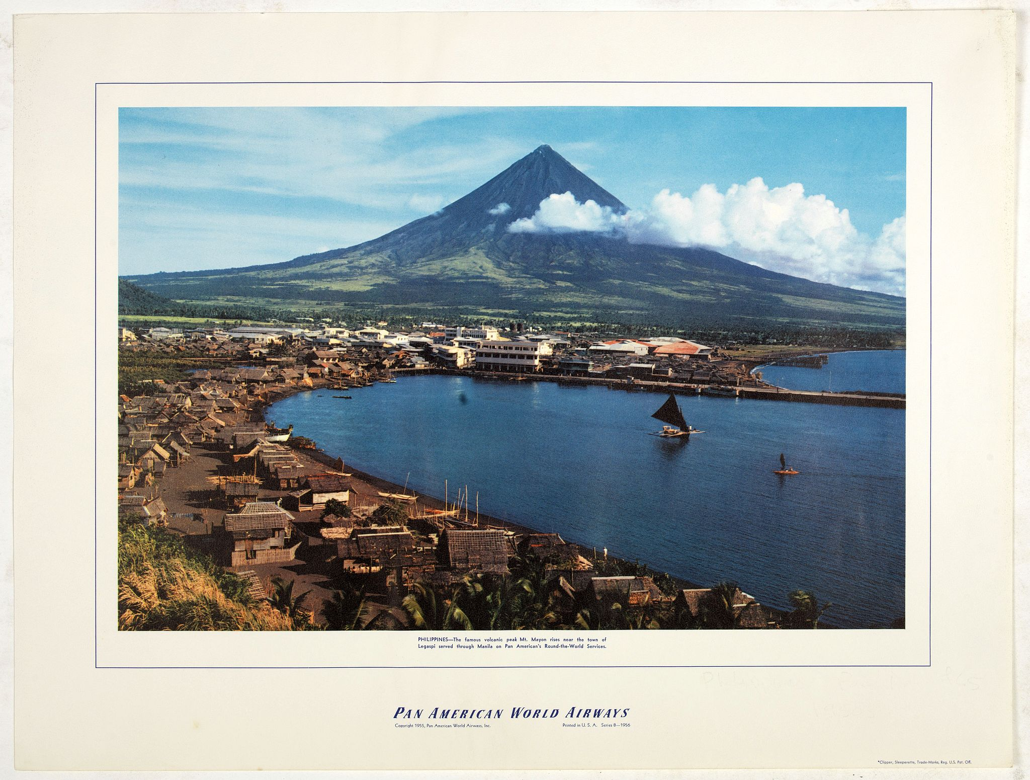 PAN AMERICAN WORLD AIRLINES -  Philippines - The famous volcanic peak Mt. Mayon. . .