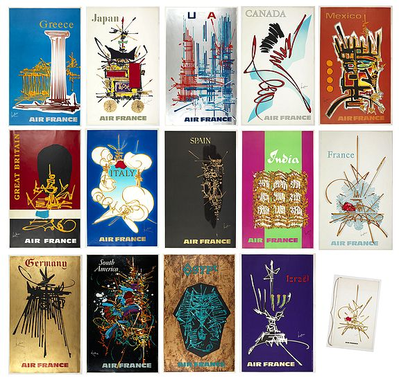 MATHIEU, G. / AIR France -  [Air France set of 14 publicity posters with brochure and folder. ]
