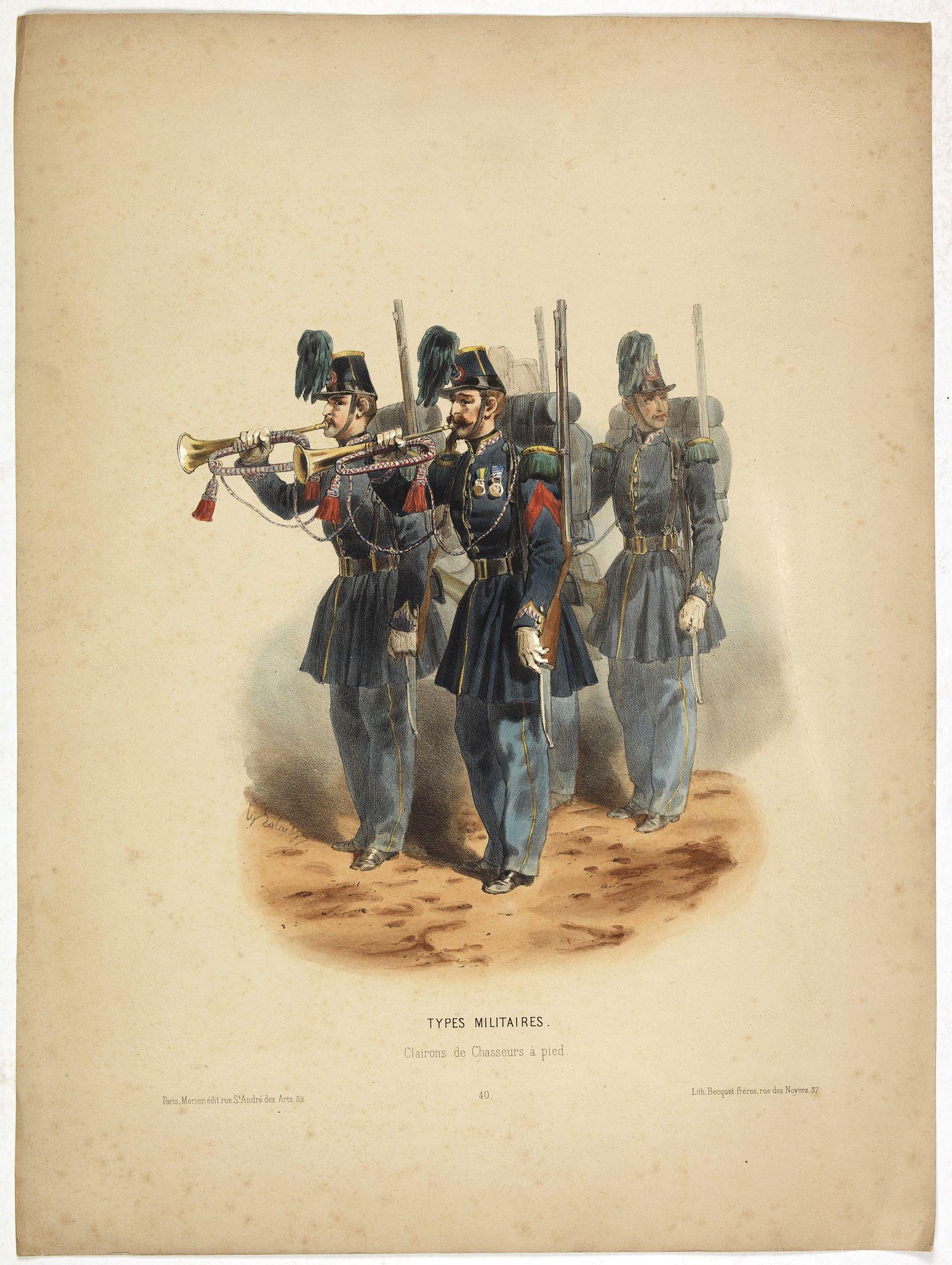 LALAISSE, H. -  Types militaires - Clairons de Chasseurs à pied. (Pl 40)
