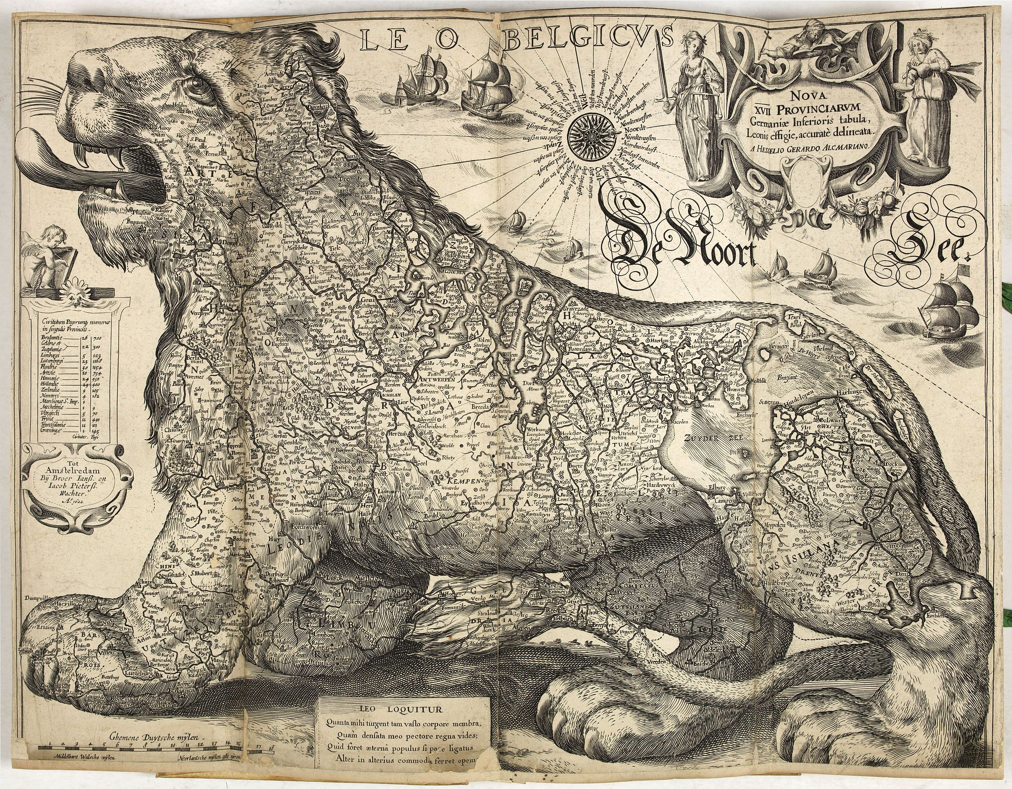 GALLE, Theodoor.,  Composite atlas of the Low Countries., antique map, old maps