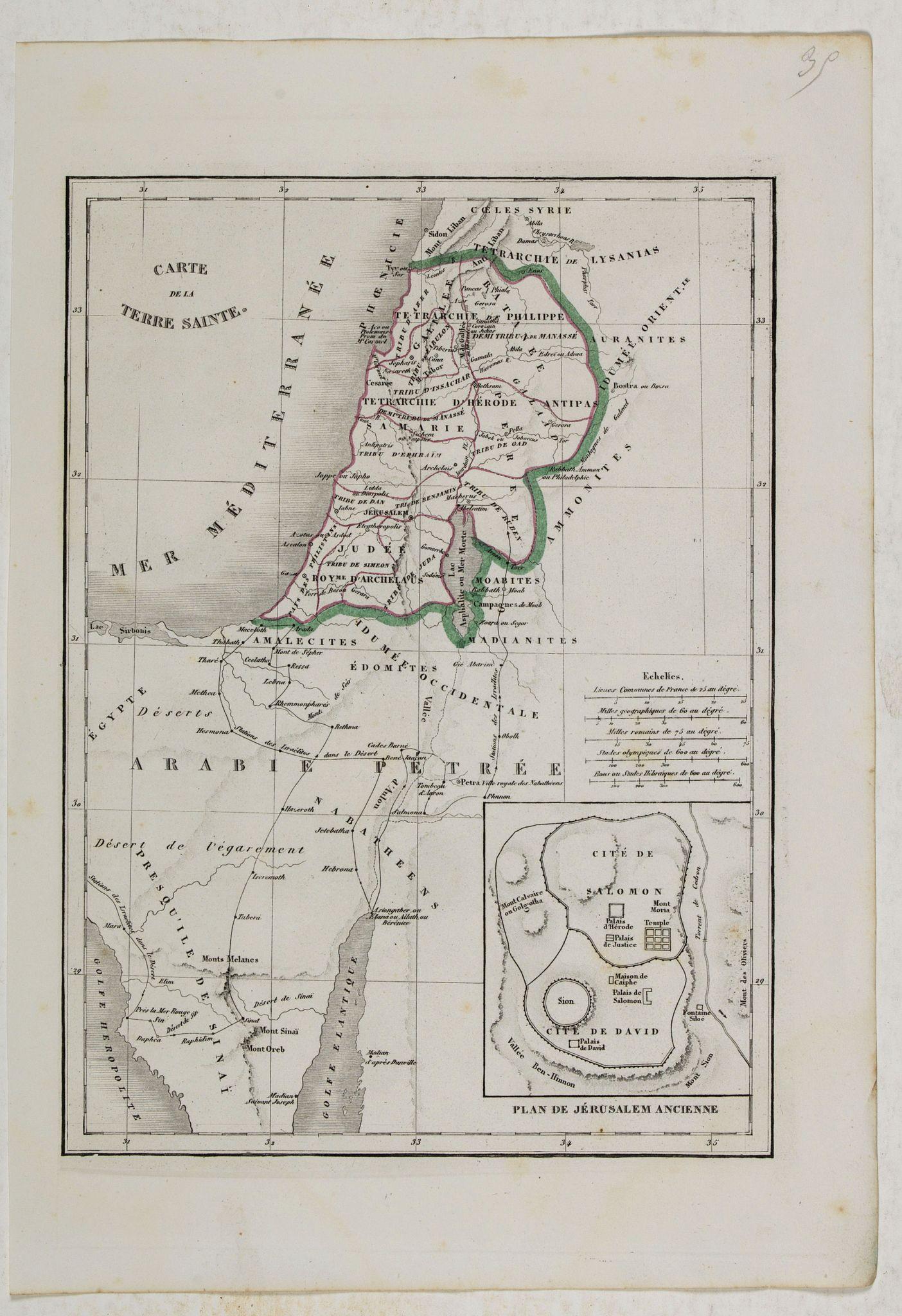 MONIN, C.V. -  Carte de la Terre Sainte.