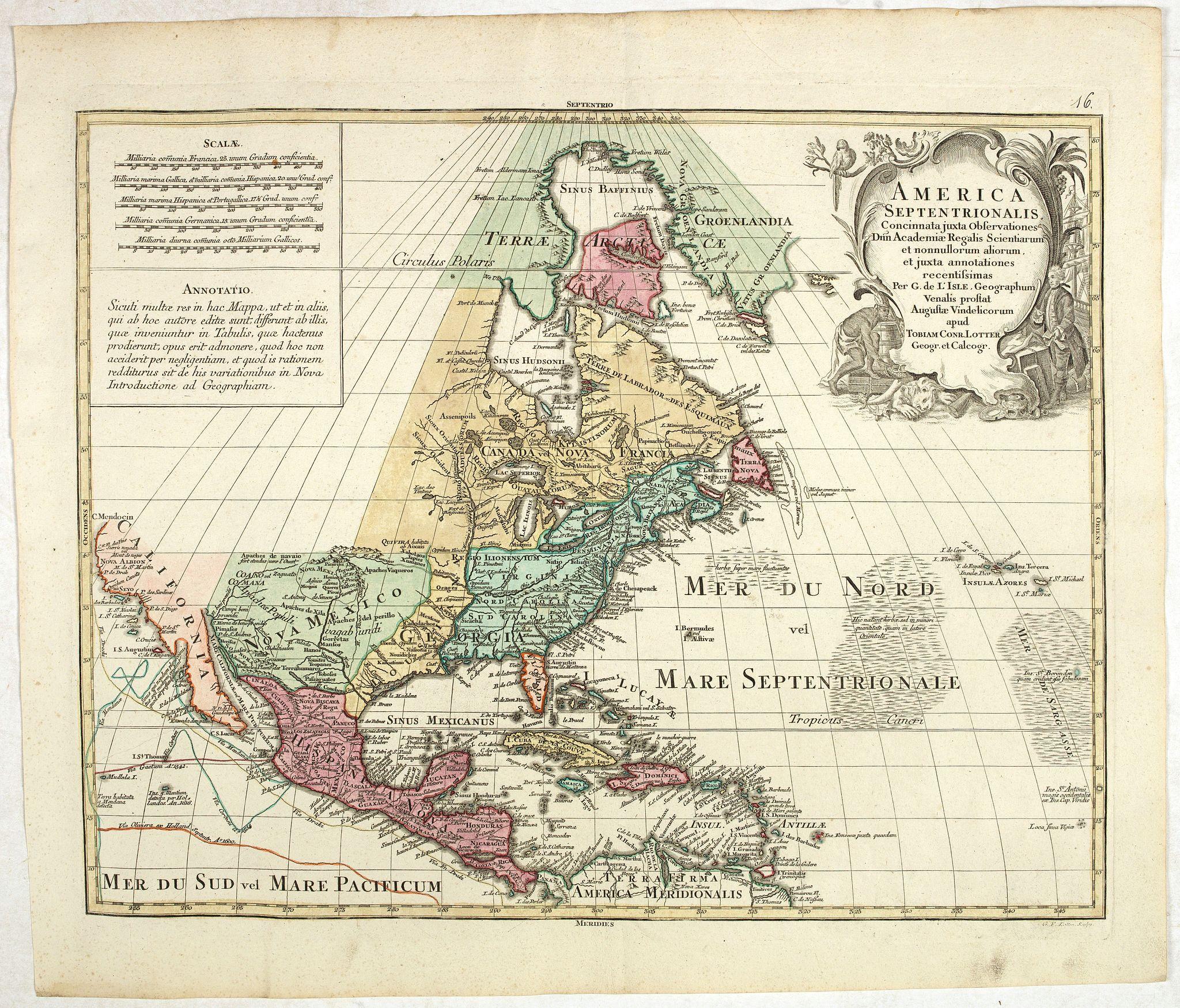 LOTTER, T.C. -  America Septentrionalis, Concinnata juxta Observationes. . .