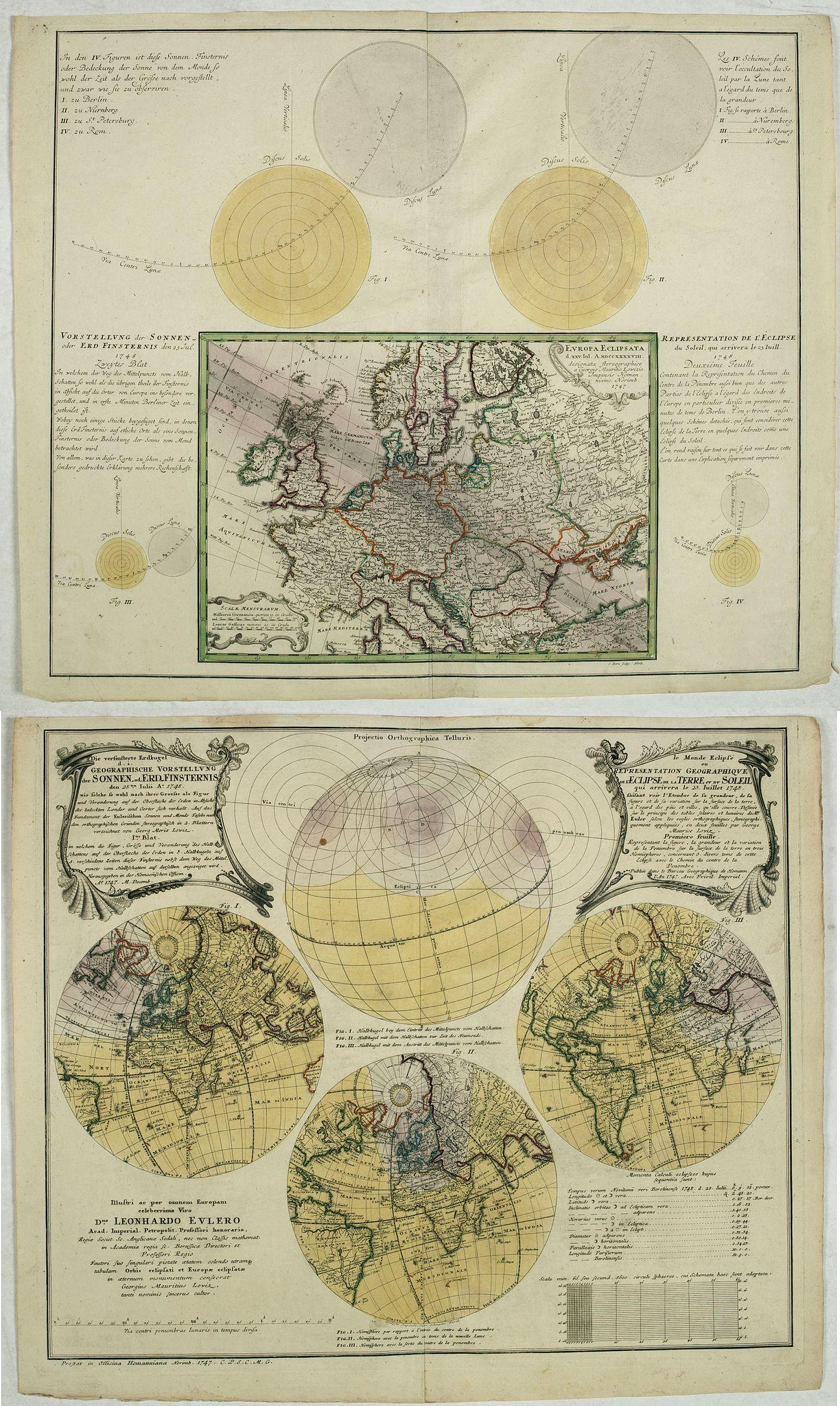 DOPPELMAYR, J. G. / HOMANN, J.B. - [Lot of 2] Die Versinsterte Erdkugel Geographische Vorstellung der Sonnen od Erd Finsternis... / Le Monde Eclipse ou Representation Geographique... [and] Europa Eclipsata...