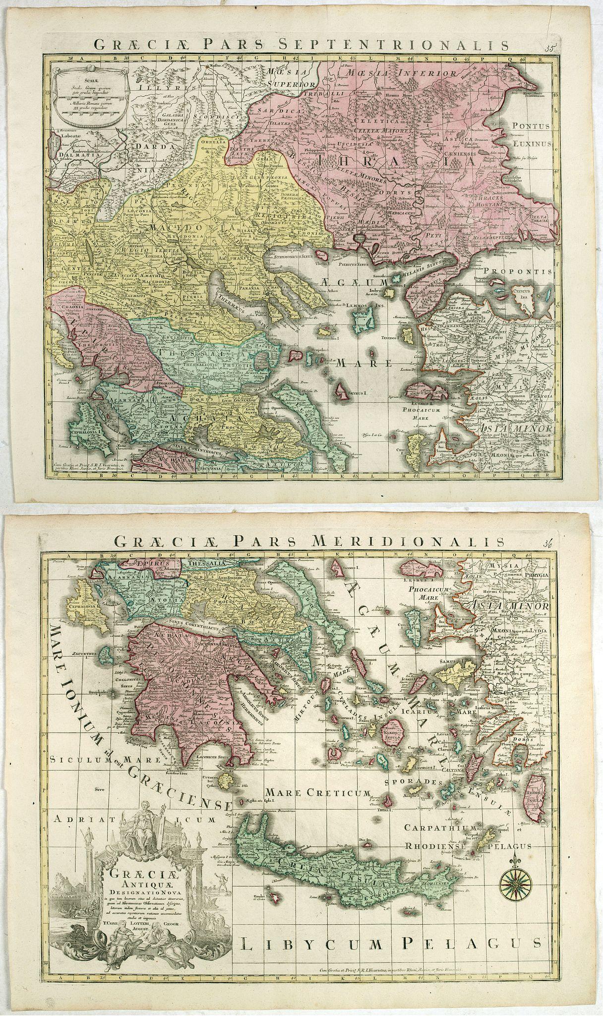 LOTTER, T. C. -  (Lot of 2 maps) Graeciae Antiquae designatio nova . . .