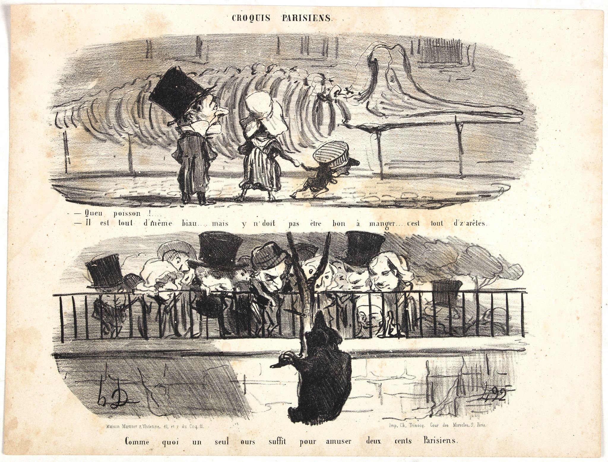 DAUMIER, H. -  Croquis Parisiens - ''Je suis bien malheureux, si vous voulez me prêter un peu d'attention.... - Je veux bien vous prêter ça, mais il me serait impossible de vous prêter autre chose.''