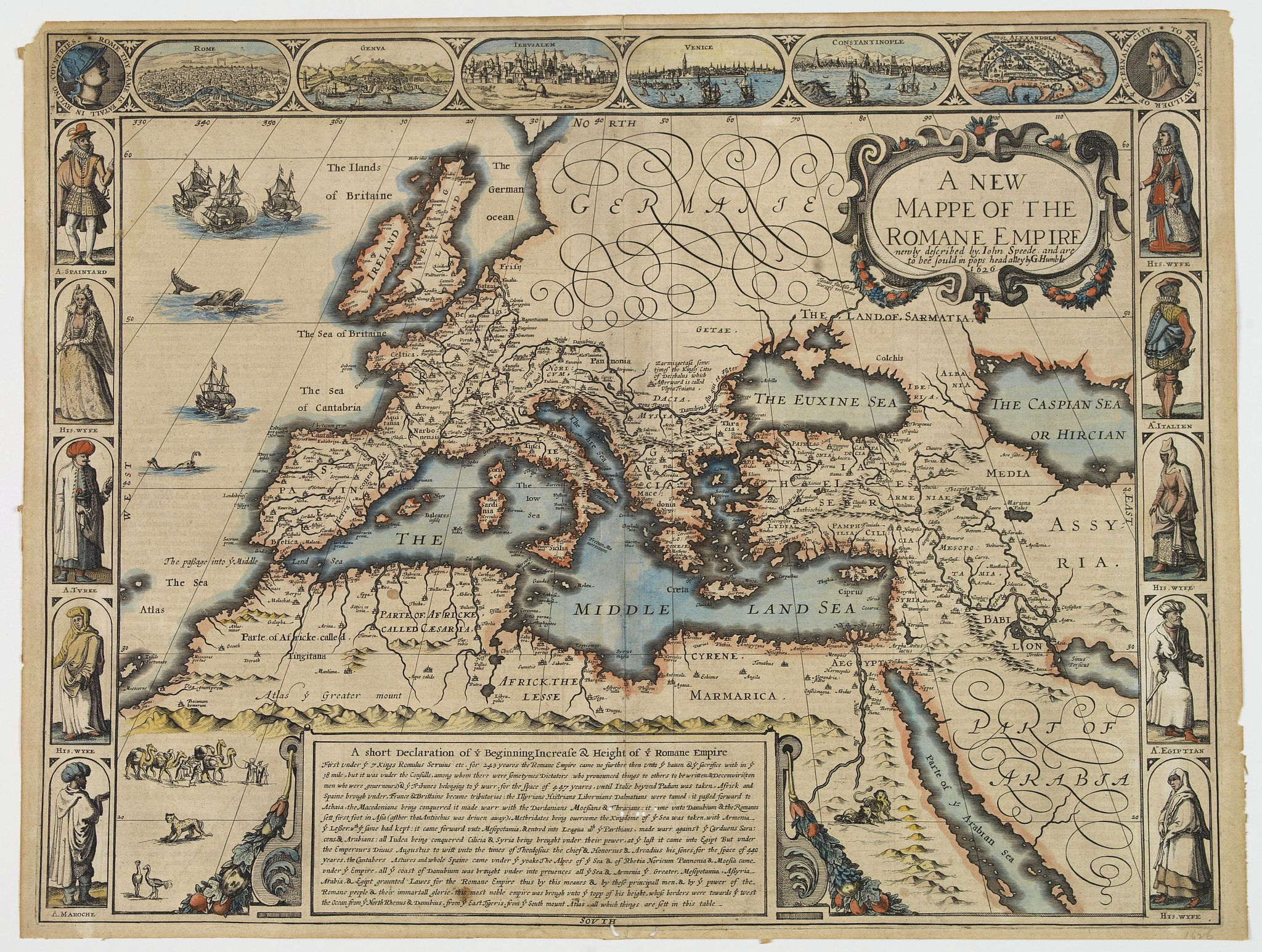 SPEED, John. -  A new mappe of the Romane Empire. . .