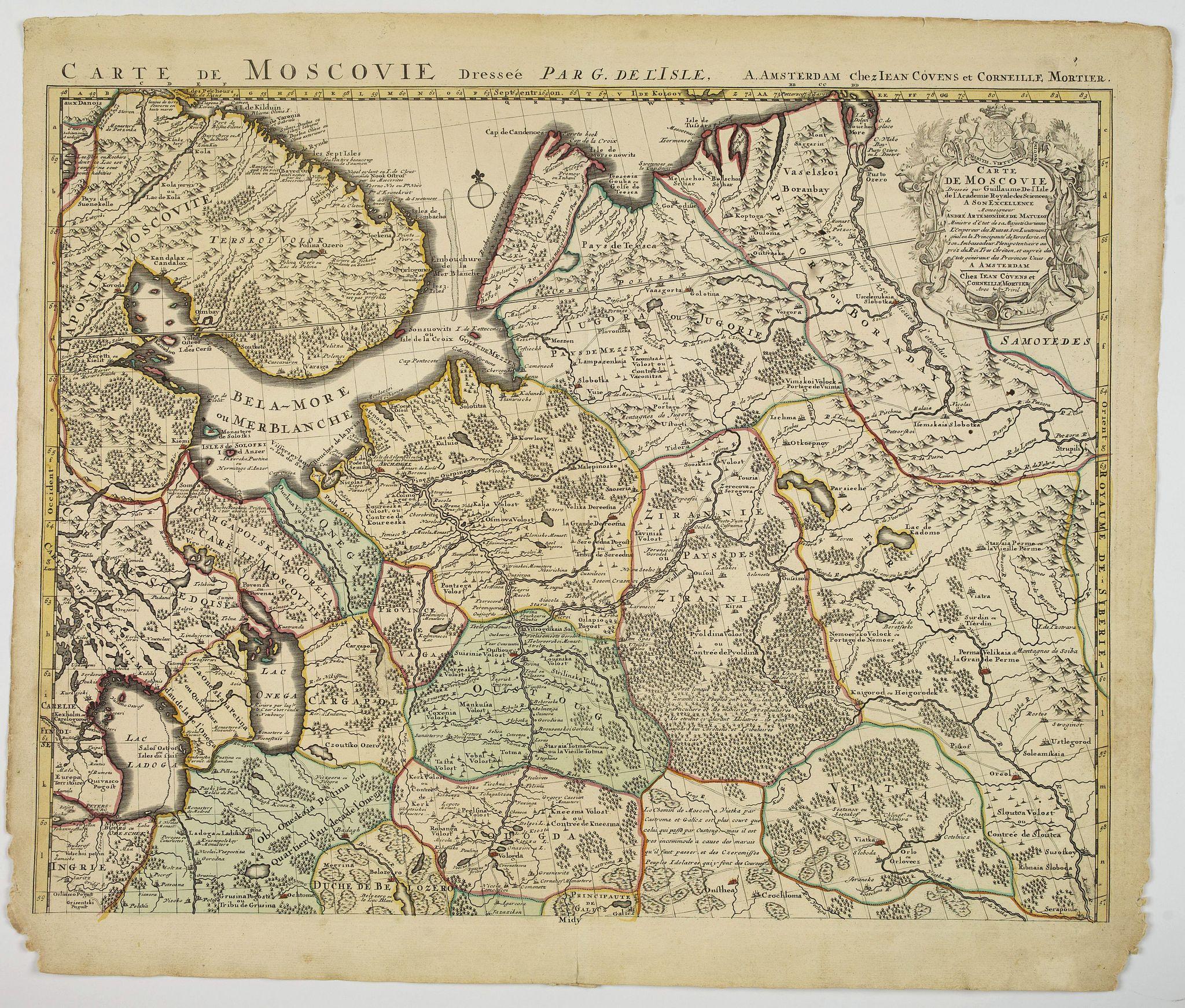 COVENS, J. / MORTIER, C. -  Carte de Moscovie dresseé par G.De L'Isle. . .