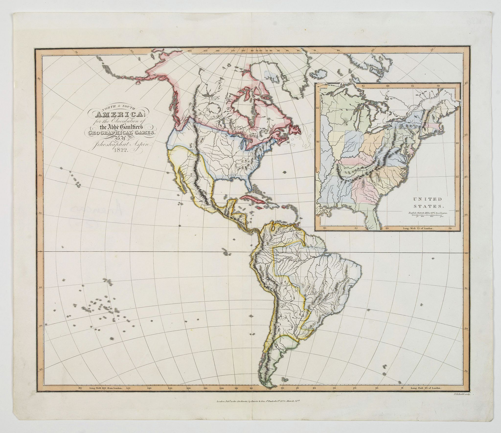 ASPIN, J. - North & South America, for the Elucidation of the Abbe Gaultier's Geographical Games.