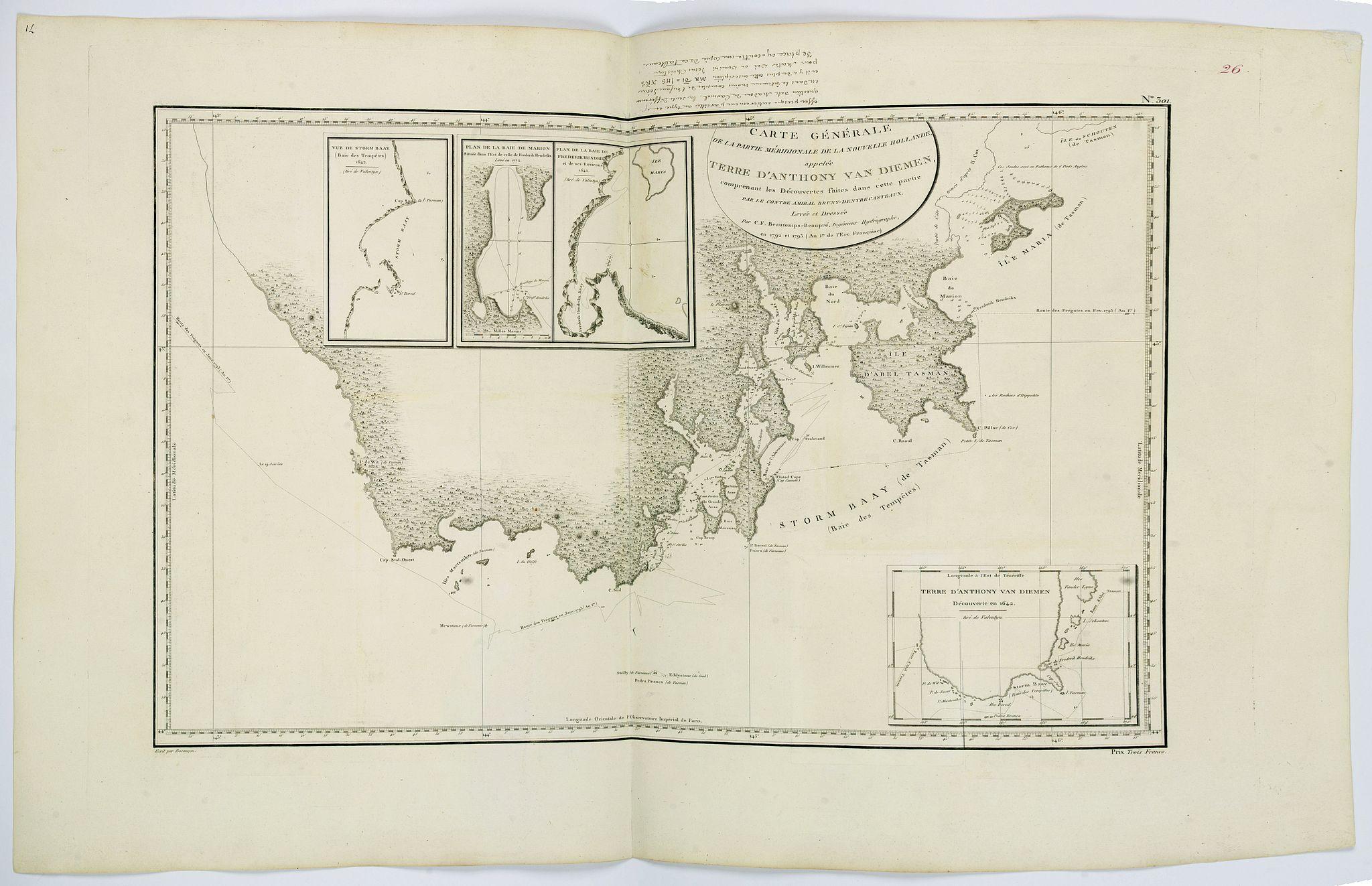BEAUTEMPS-BEAUPRE, C.F. -  Carte Generale de la partie Meridionale de la Nouvelle Hollande. . .Terre D'Anthony van Diemen. . .