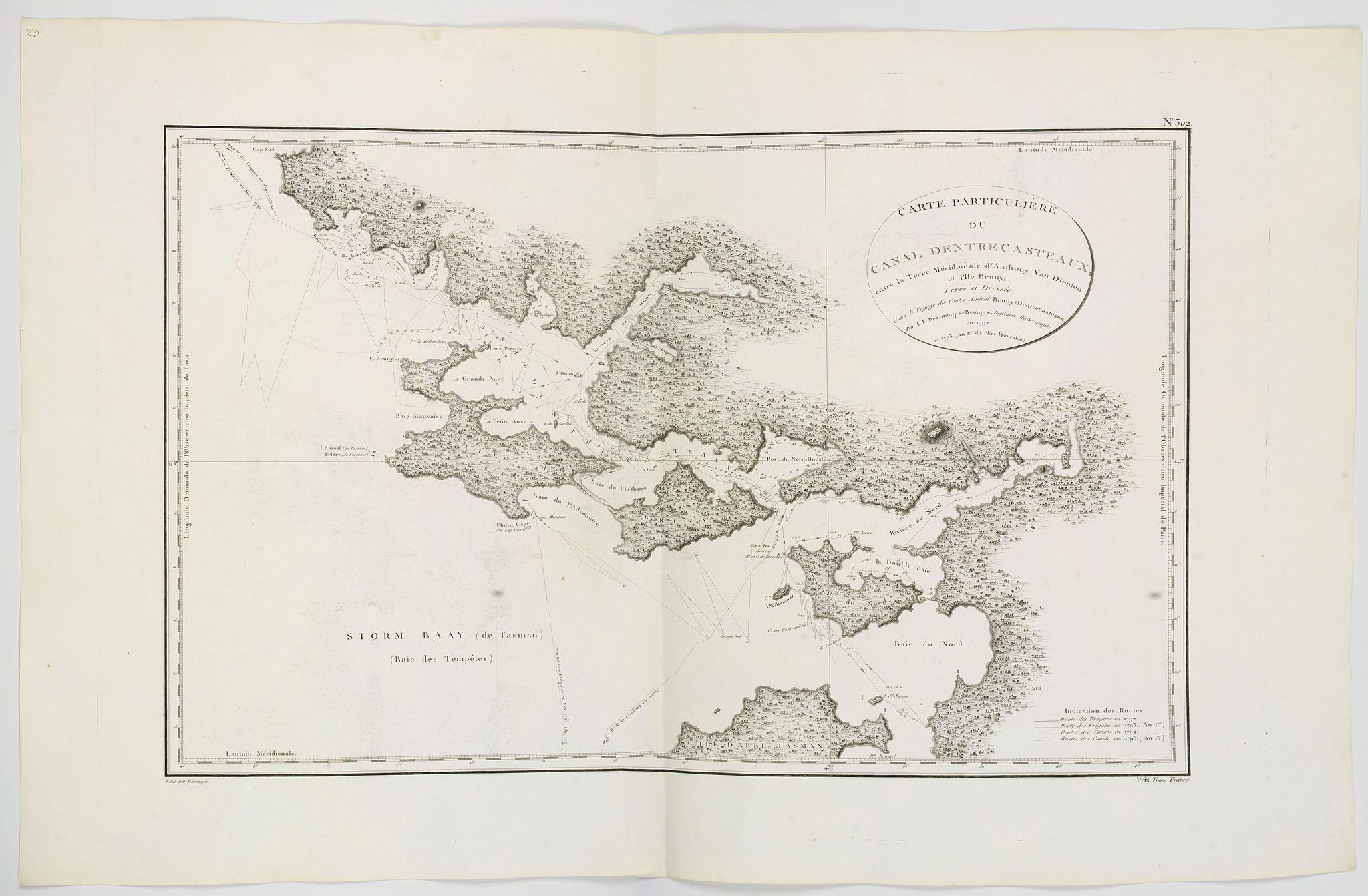 BEAUTEMPS-BEAUPRE, C.F. -  Carte Particuliere du canal Dentrecasteaux entre la Terre Meridionale d'Anthony van Diemen. . .