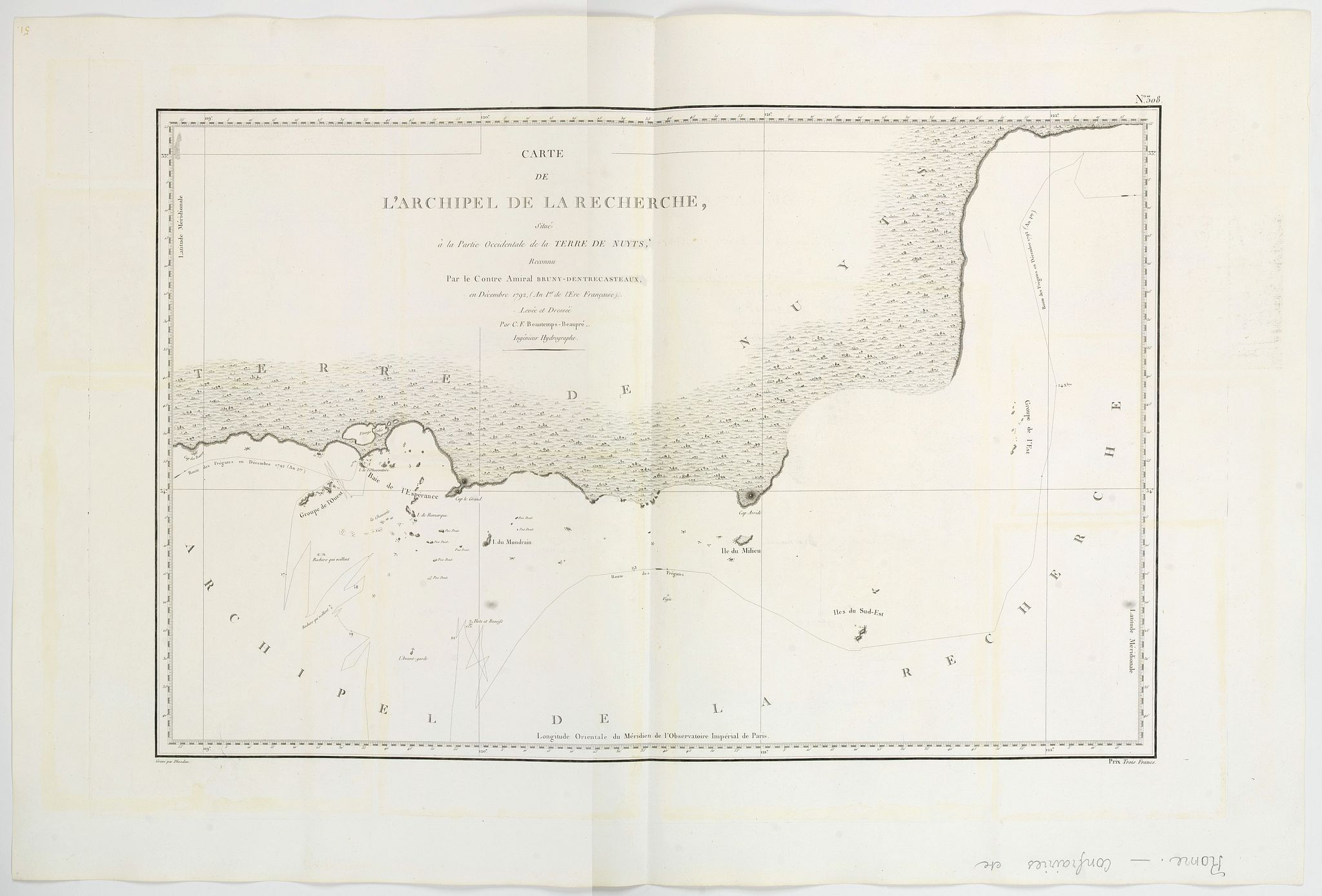 BEAUTEMPS-BEAUPRE, C.F. -  Carte de L'Archipel de La Recherche a la partie Occidentale de la Terre de Nuyts. . .