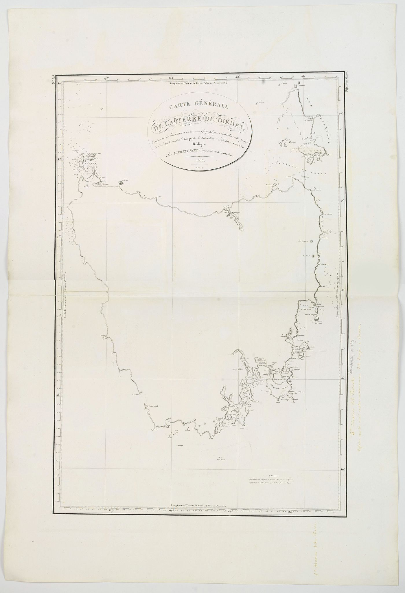 FREYCINET, L. -  Carte Generale de la Terre de Diemen. . .