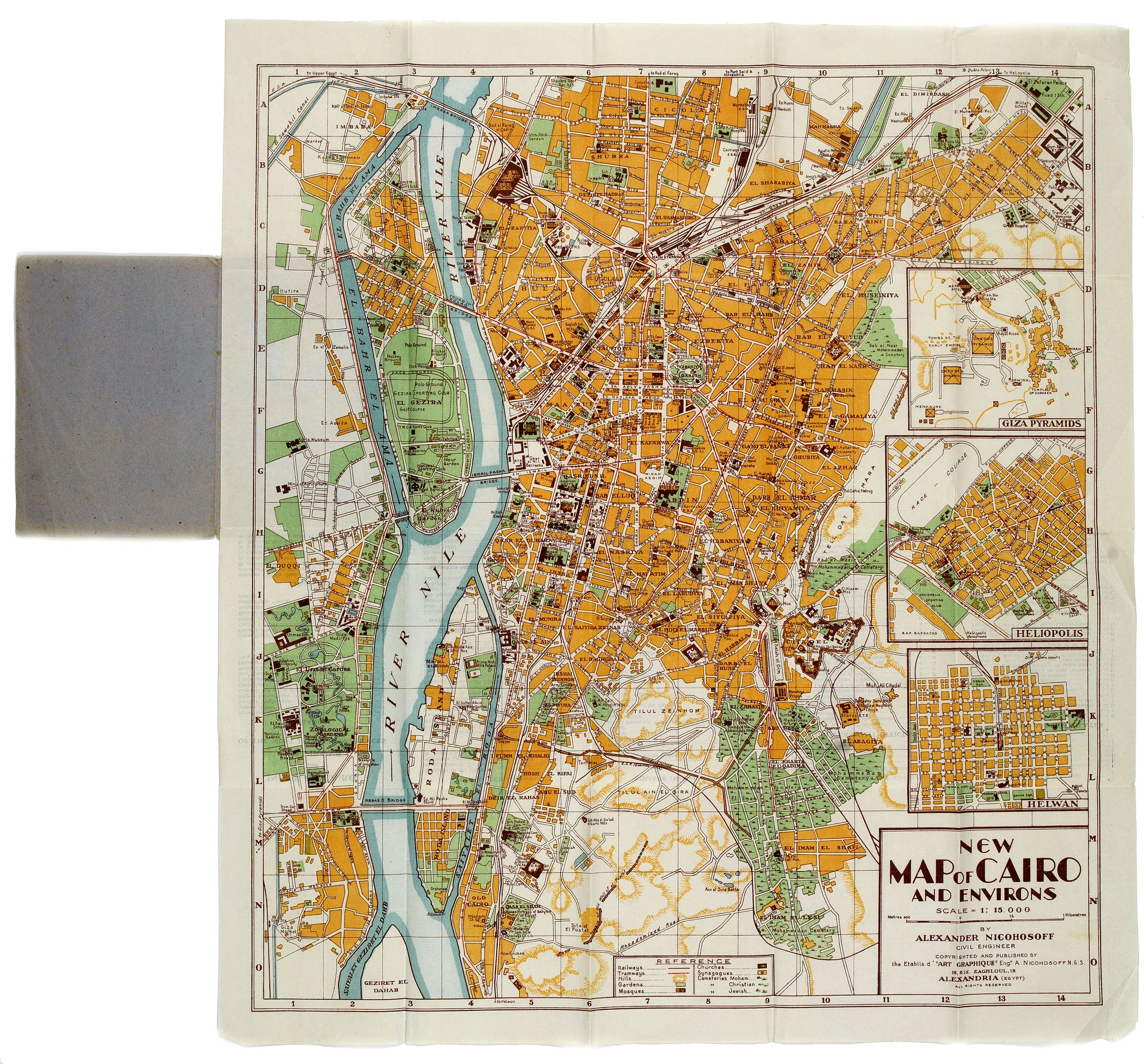 NICOHOSOFF, Alexander. -  New Map of Cairo and Environs.