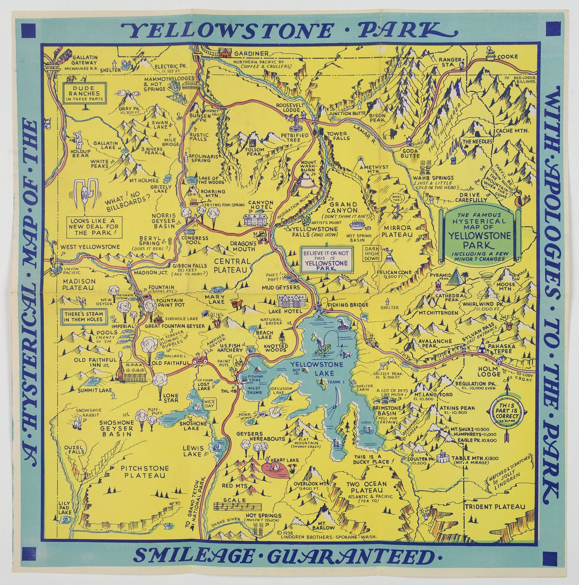 LINDGREN BROTHERS.,  A Hysterical Map of the Yellowstone Park. . ., antique map, old maps